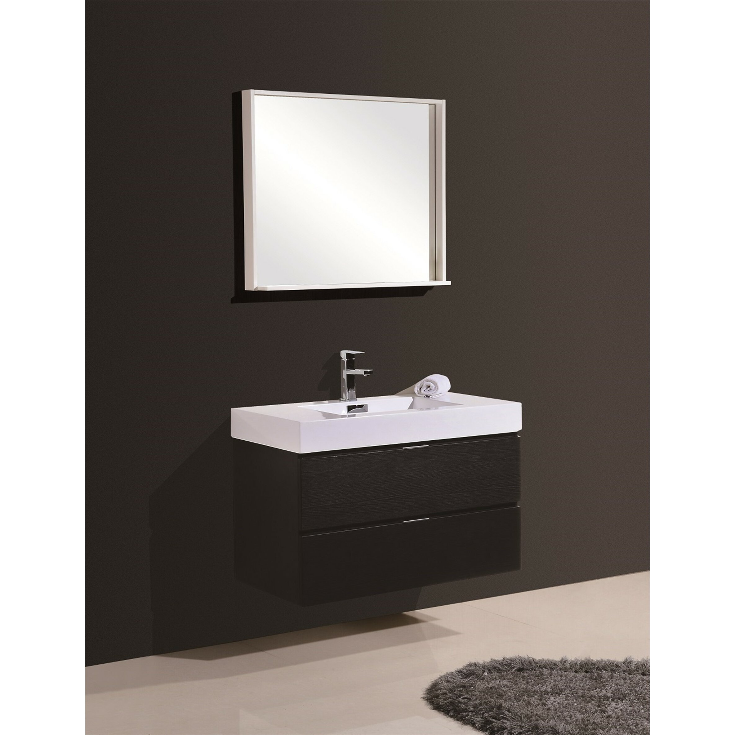 Modern bathroom cabinet - Wade Logan Reg Tenafly 36 Quot Single Wall Mount Modern Bathroom Vanity Set