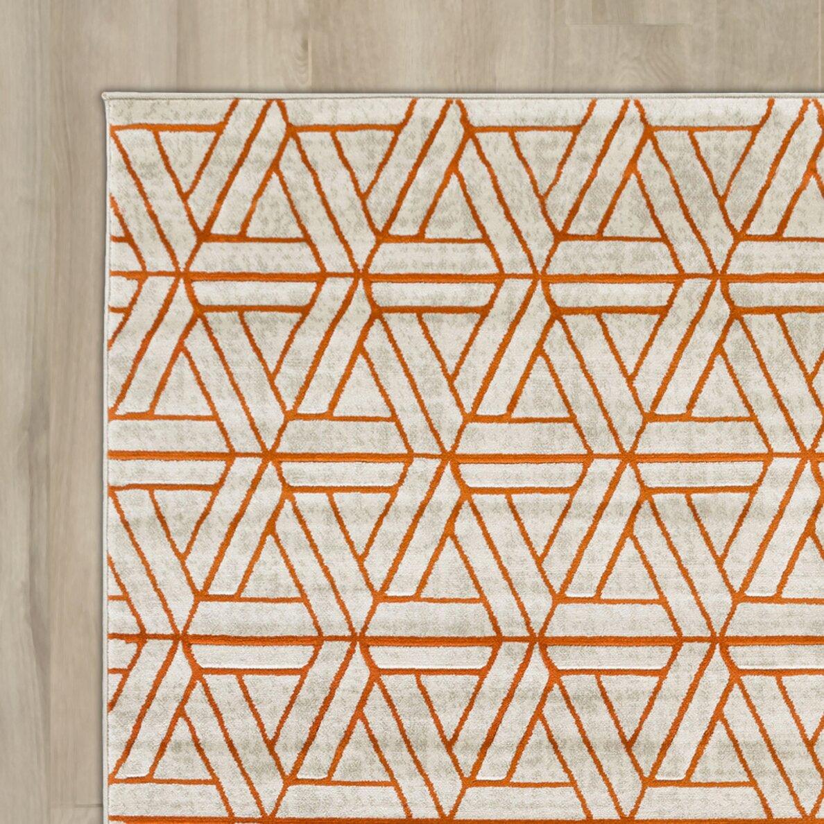 ginsberg light grayburnt orange area rug  reviews  allmodern - langley street ginsberg light grayburnt orange area rug