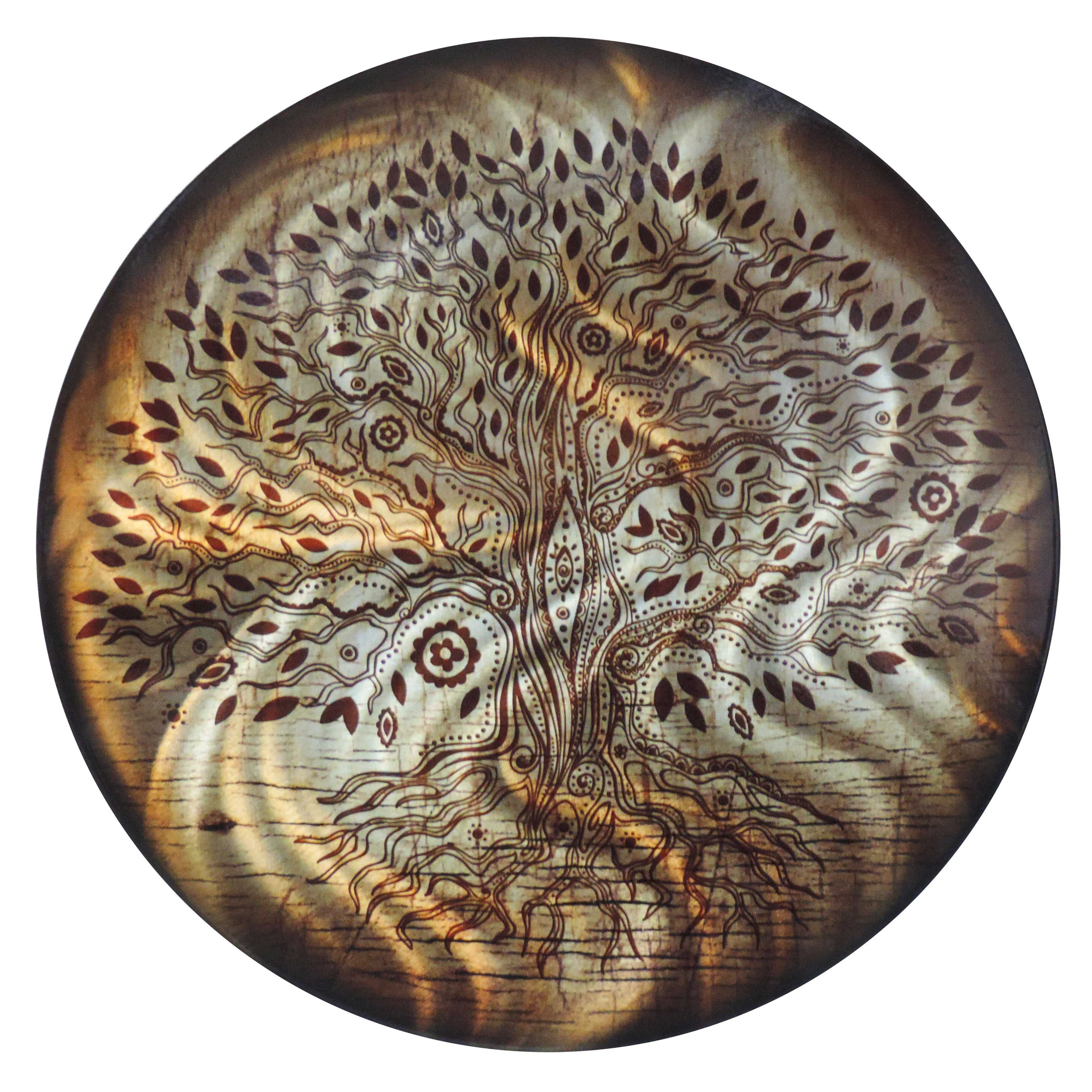 Next Innovations Round Tree of Life Metal Wall Du0026eacute;cor