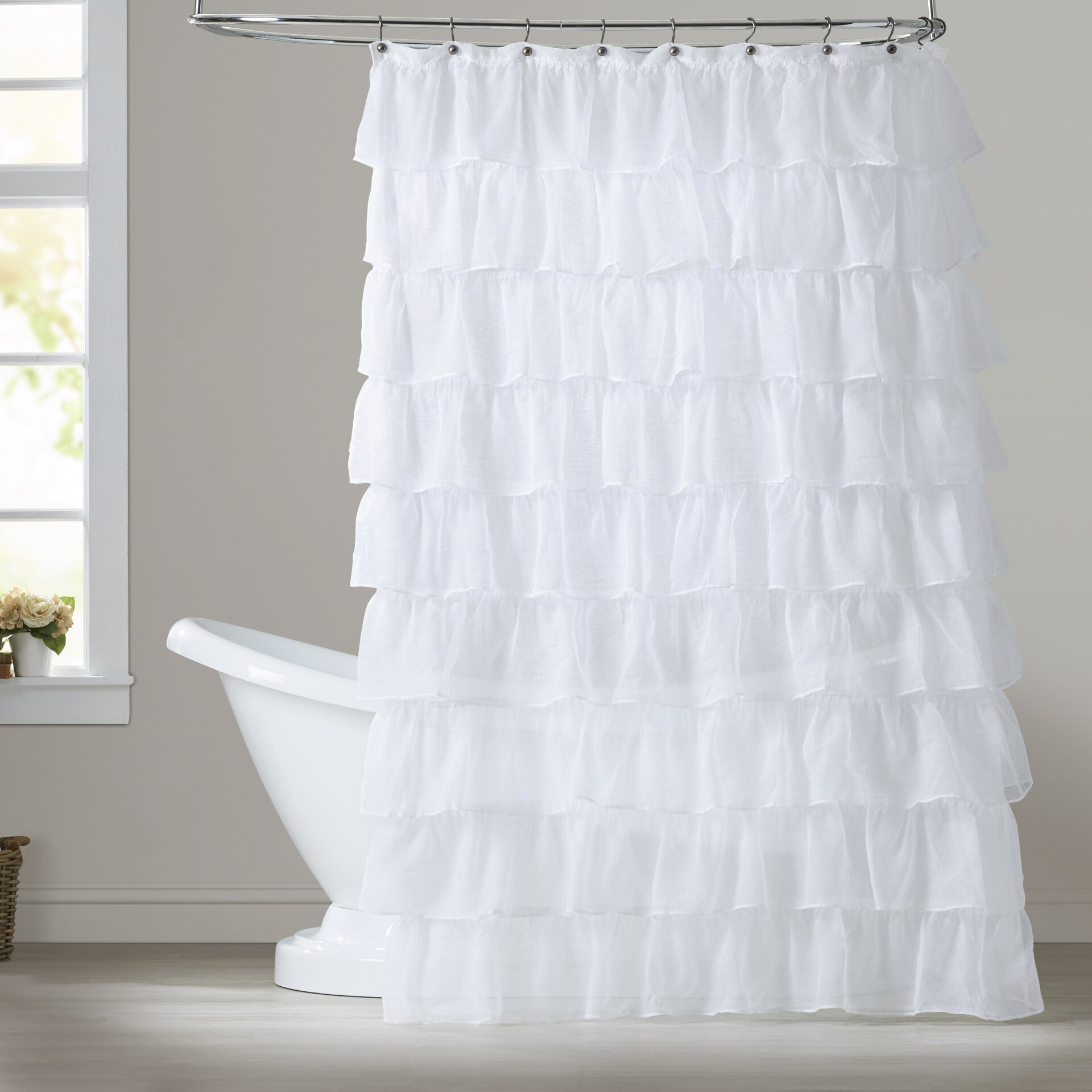 Lark Manor Rodemack Voile Ruffled Tier Shower Curtain