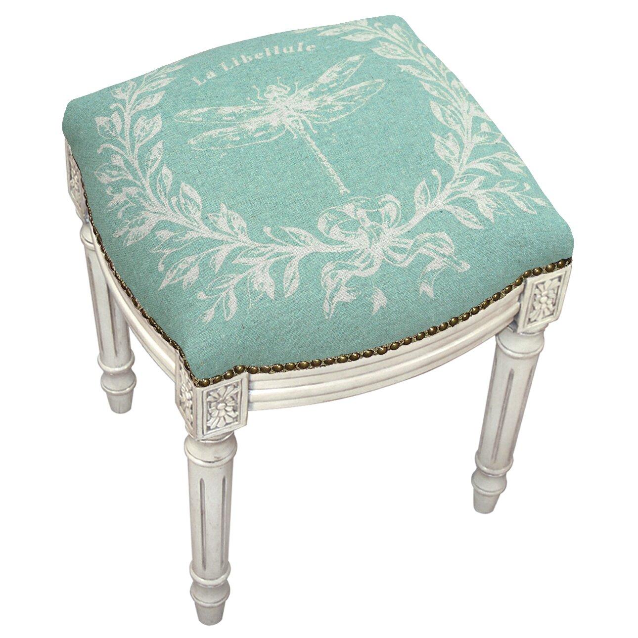 Lark Manor Clematite Dragonfly Linen Upholstered Vanity Stool Reviews Wayfair