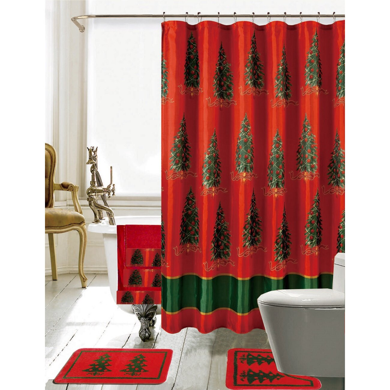 Daniels Bath Christmas Bathroom Decor 18 Piece Shower Curtain Set Reviews