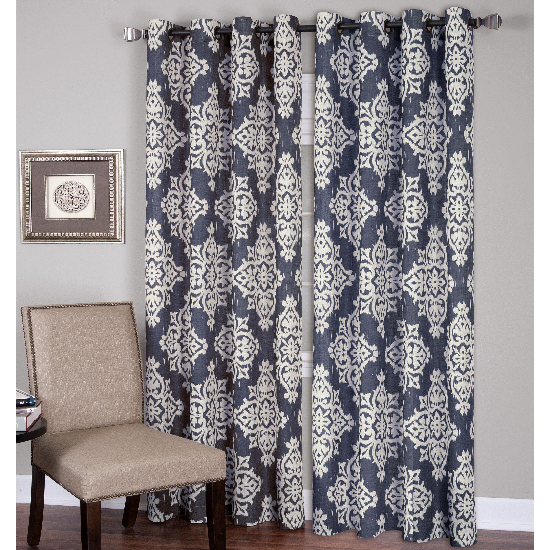 Gray and white damask curtains - Medina Single Curtain Panel
