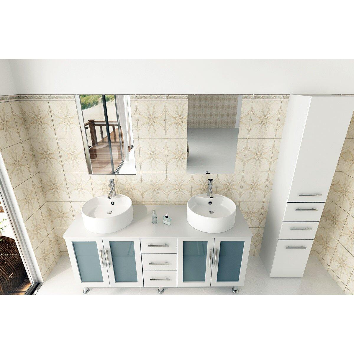 Modern Bathroom Vanity Jwh Living Lune 59 Double Vessel Modern Bathroom Vanity Set