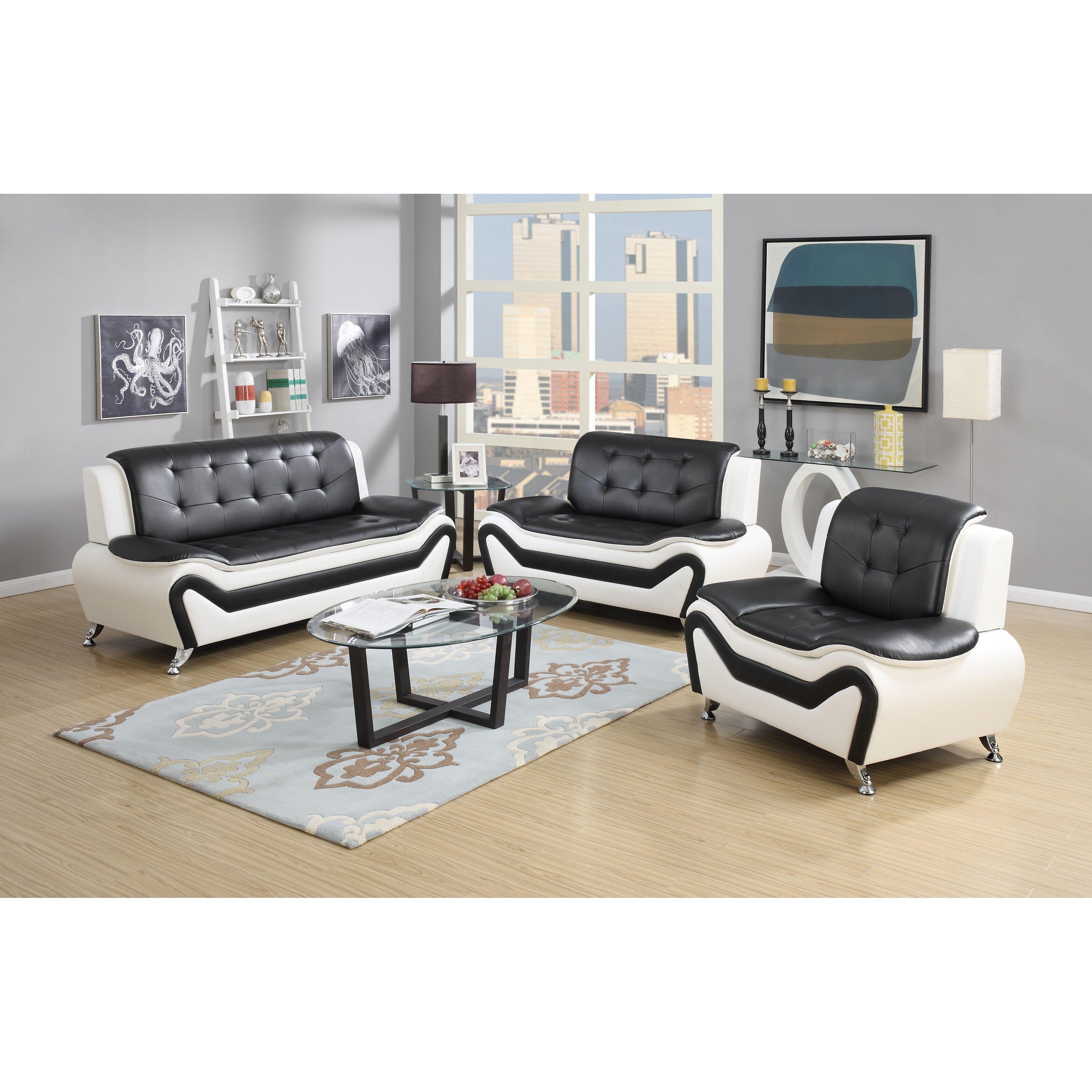 Latitude Run Elzada 3 Piece Contemporary Living Room SetReviews