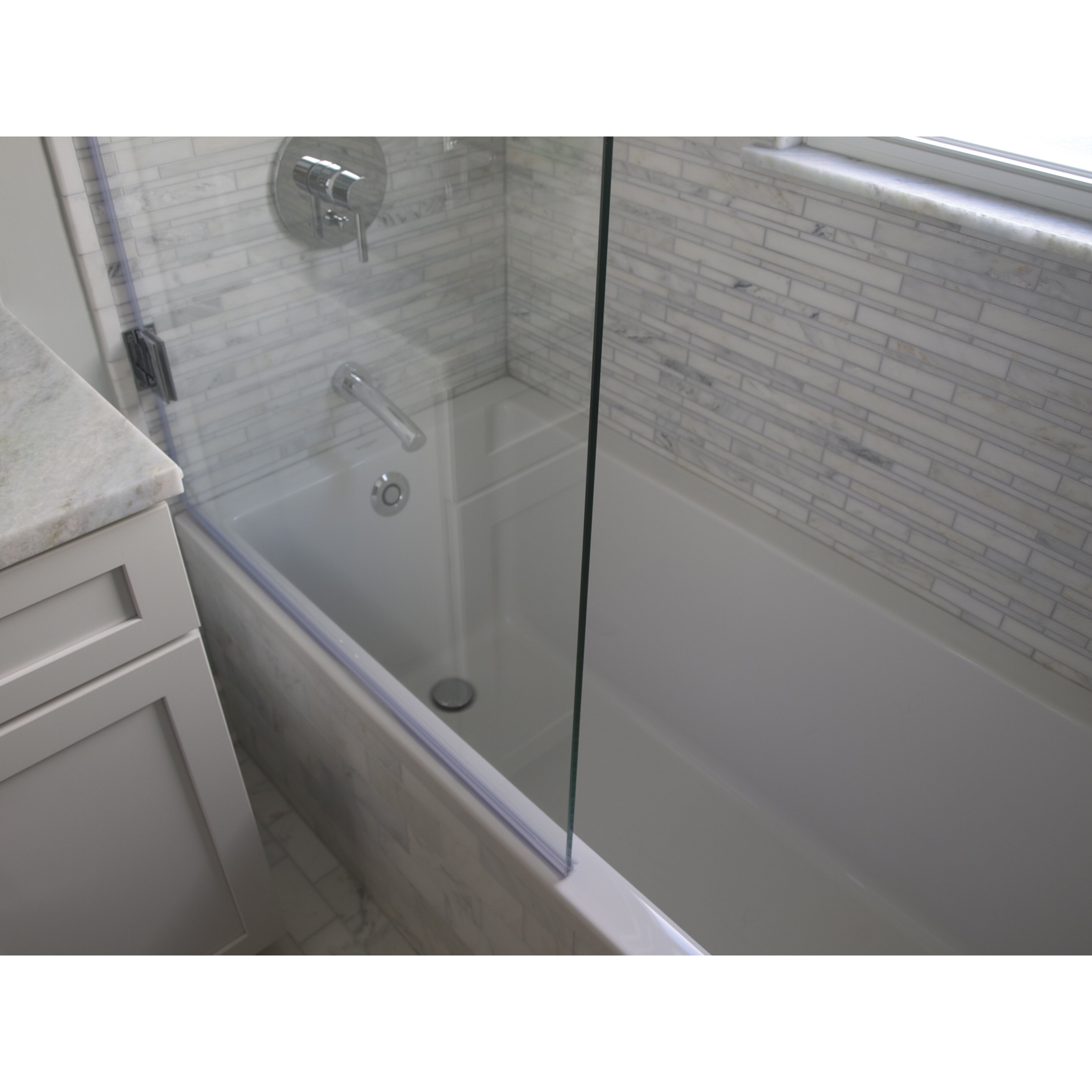 hinged bathtub shower screen with clearshield coating by ark showers