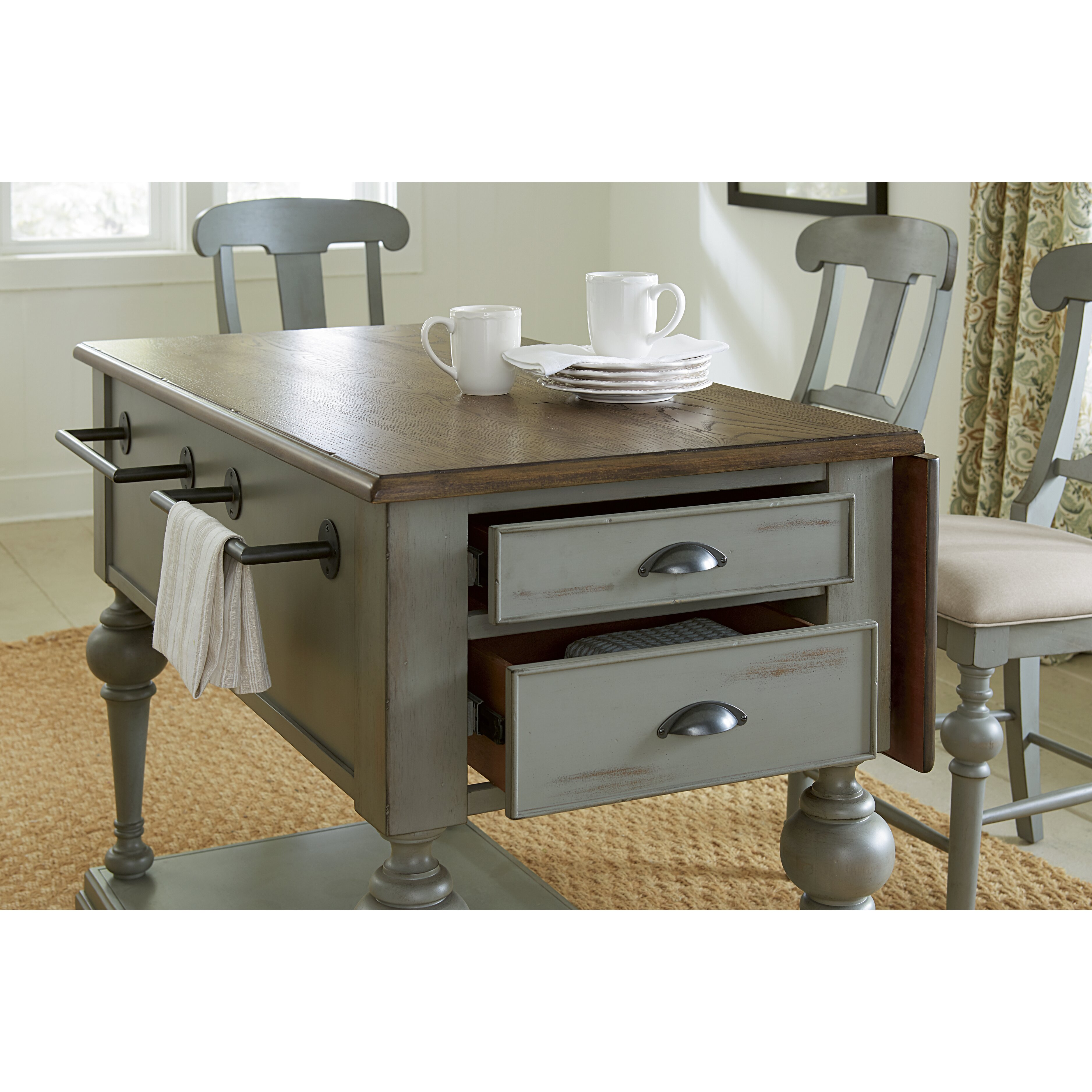 Kitchen Island August Grove Apollinaire Kitchen Island With Wood Top Reviews
