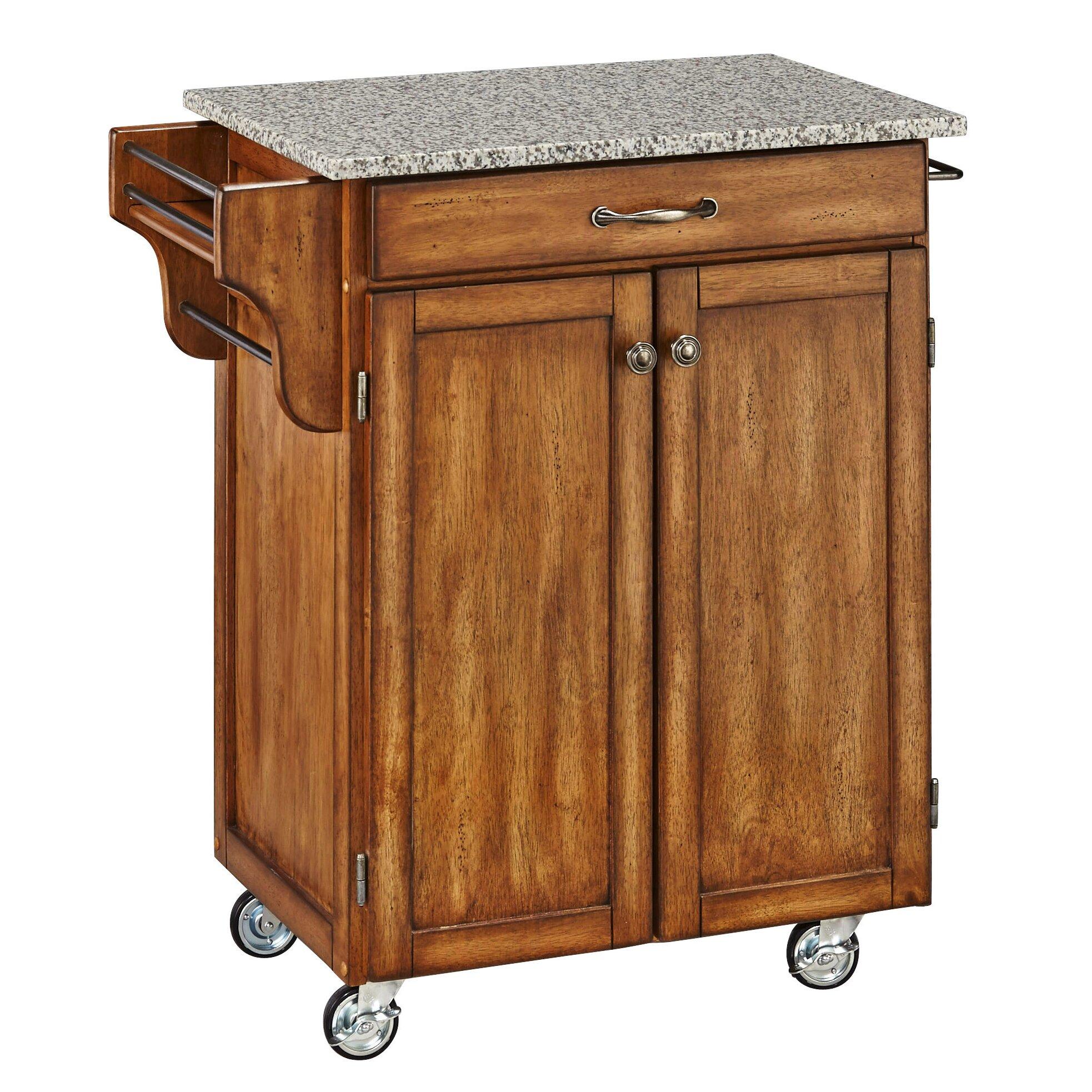 Kitchen Cart Granite Top August Grove Savorey Kitchen Cart With Granite Top Reviews Wayfair