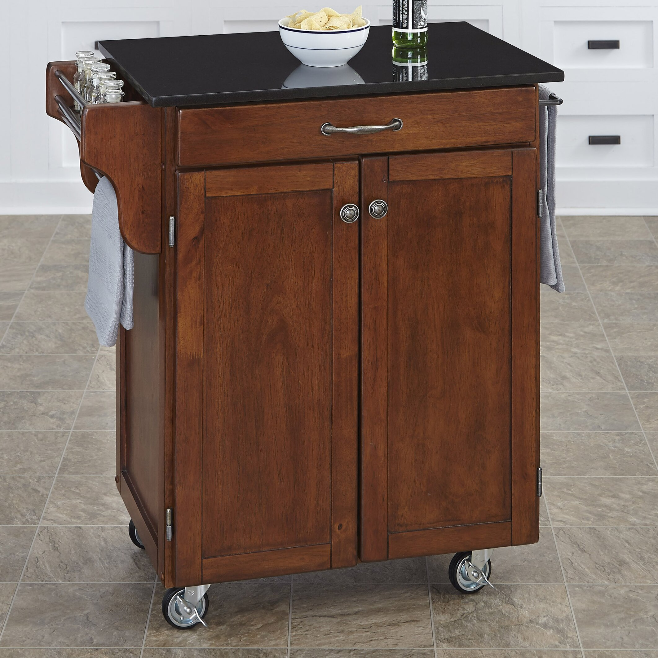 august grove savorey granite top kitchen cart reviews. Black Bedroom Furniture Sets. Home Design Ideas