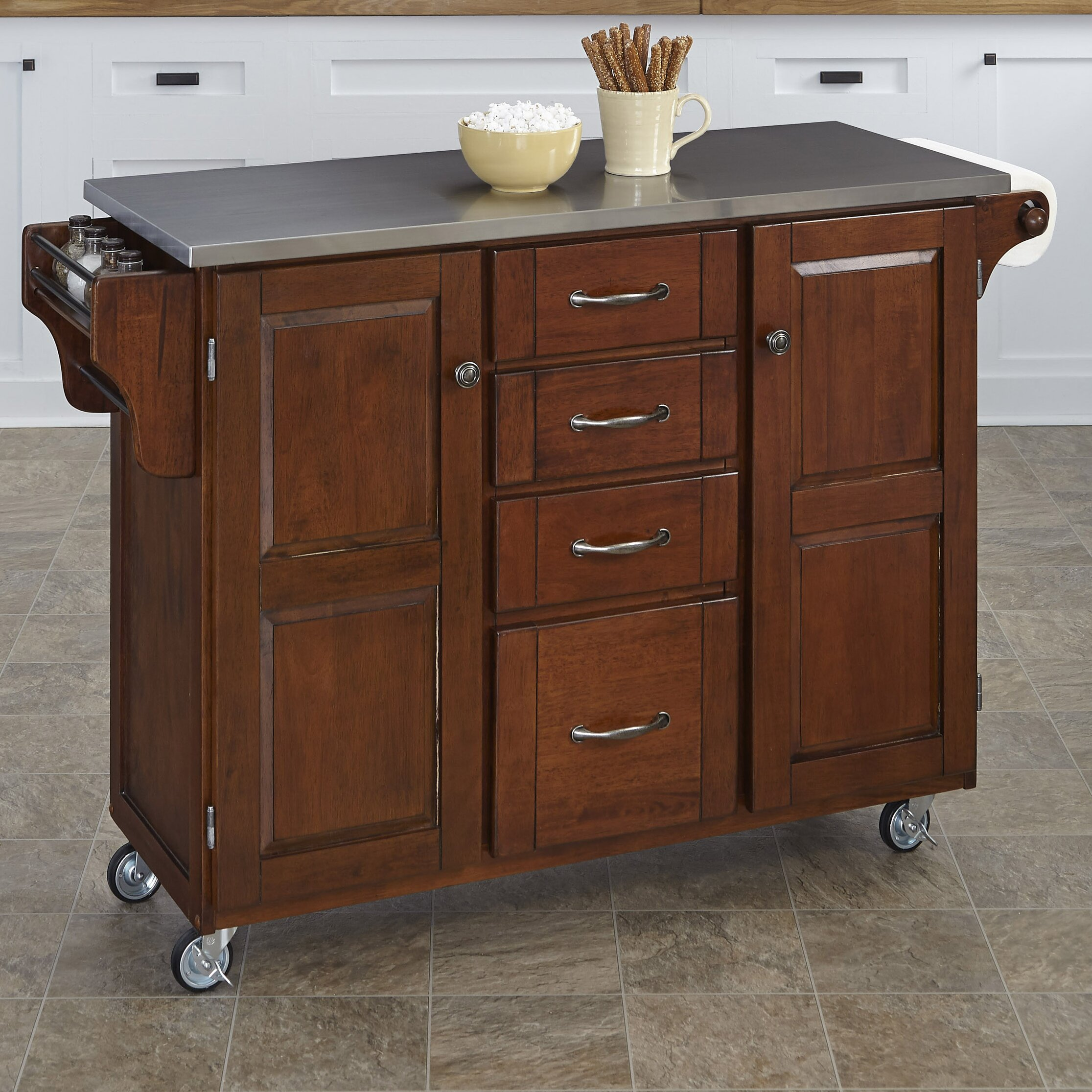 kitchen island stainless steel top august grove adelle a cart kitchen island with stainless 24786