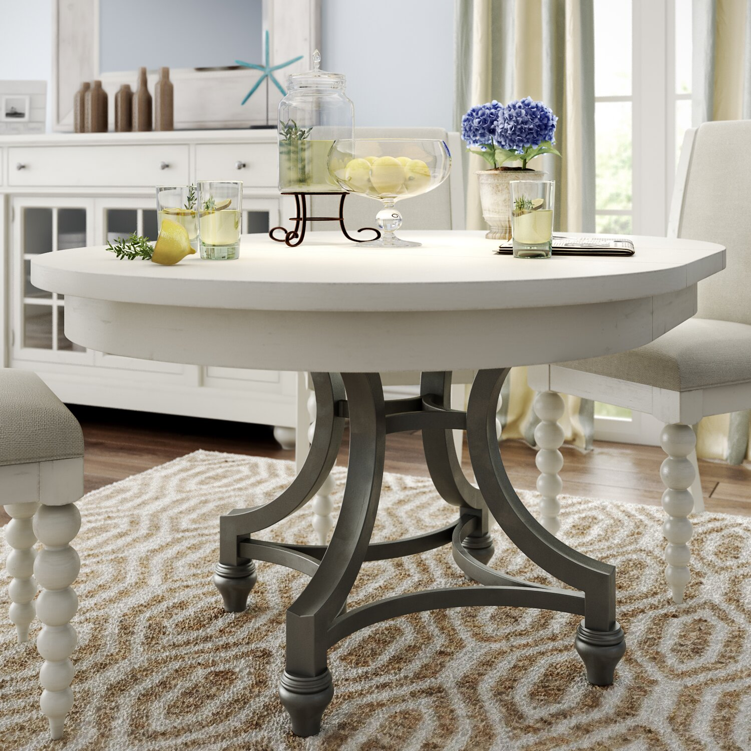 Round Country Kitchen Table August Grove Baroncourt Round Dining Table Reviews Wayfair