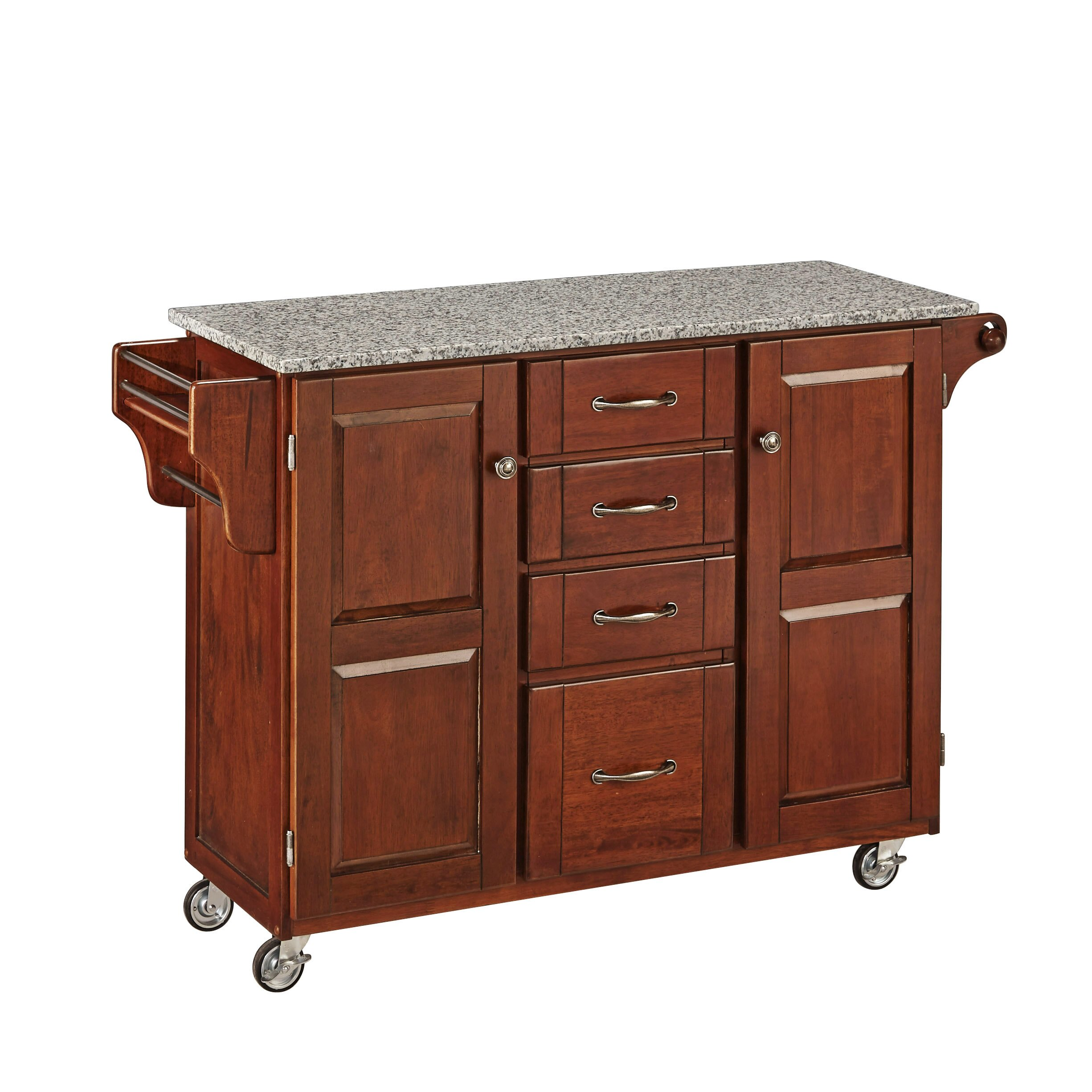 Granite Top Kitchen Island August Grove Adelle A Cart Kitchen Island With Granite Top