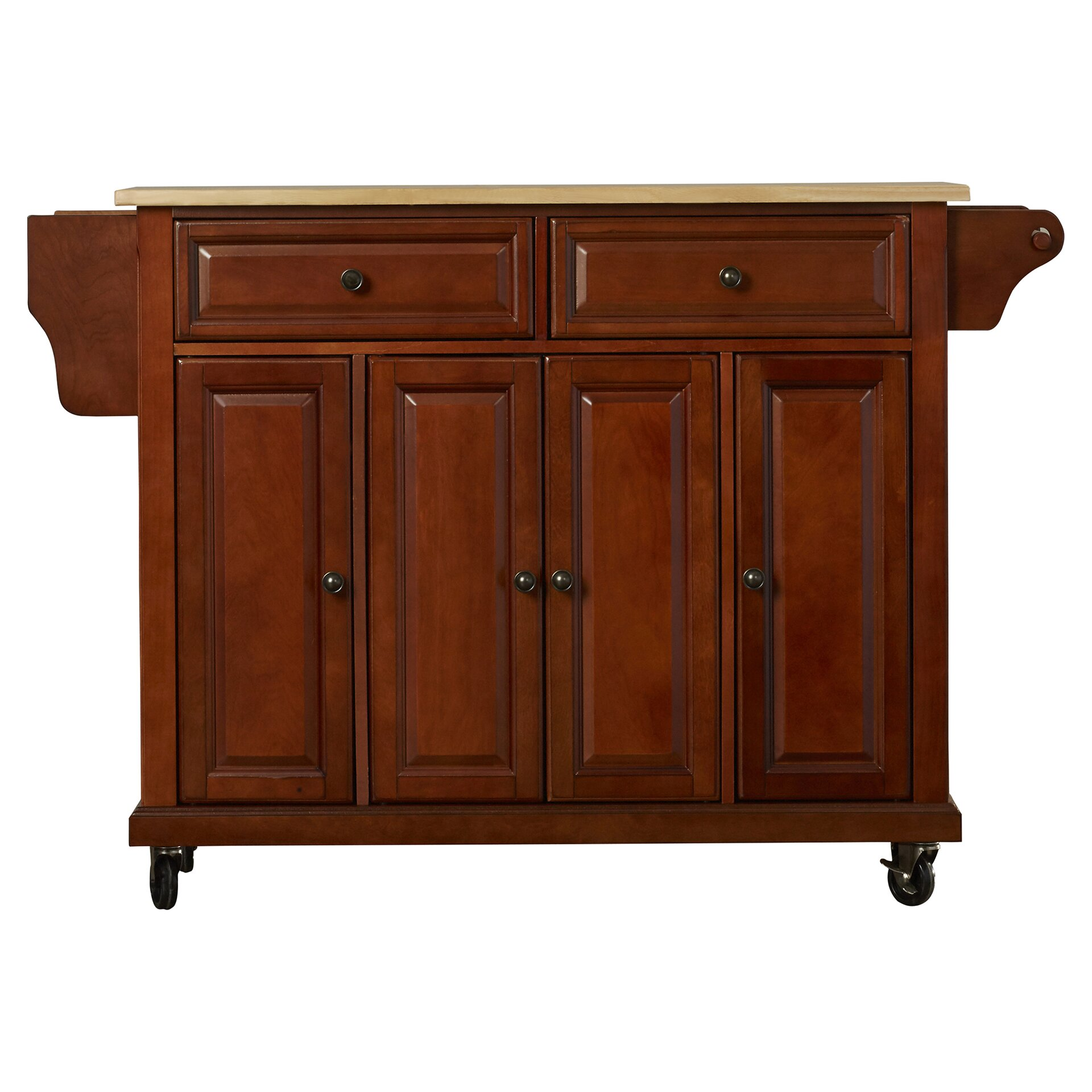 August Grove Comte Kitchen Cart Island With Natural Wood