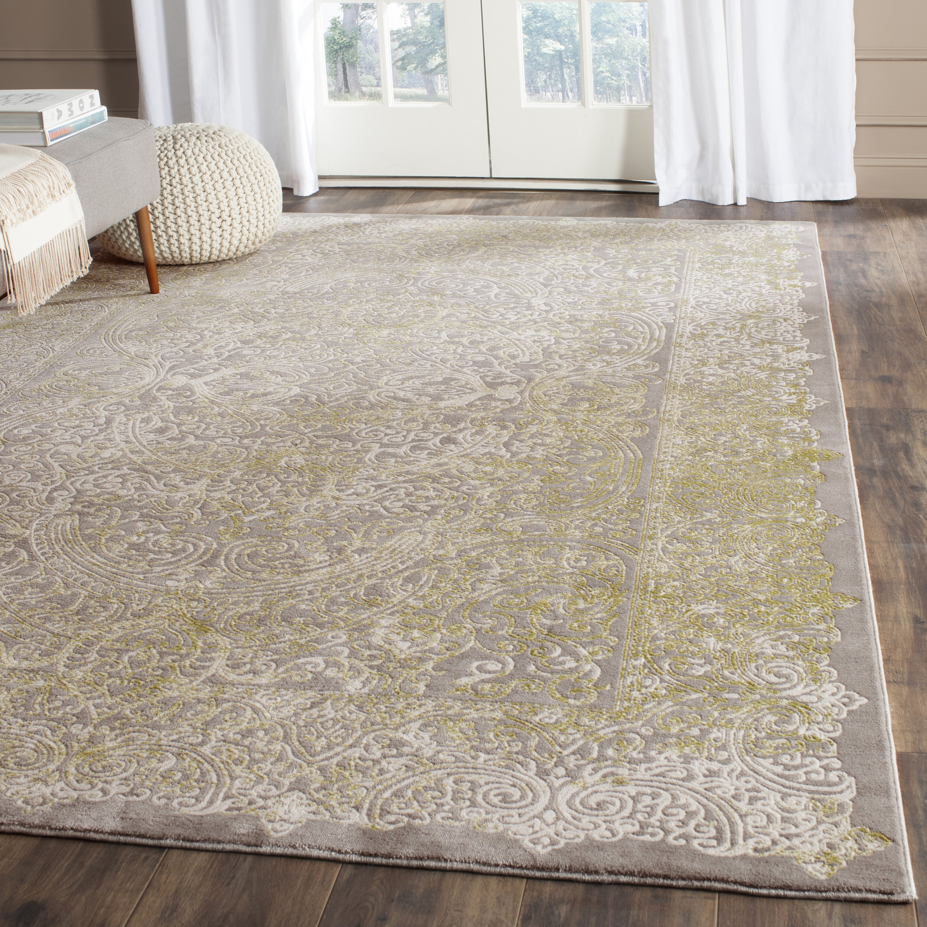 grey and green area rug