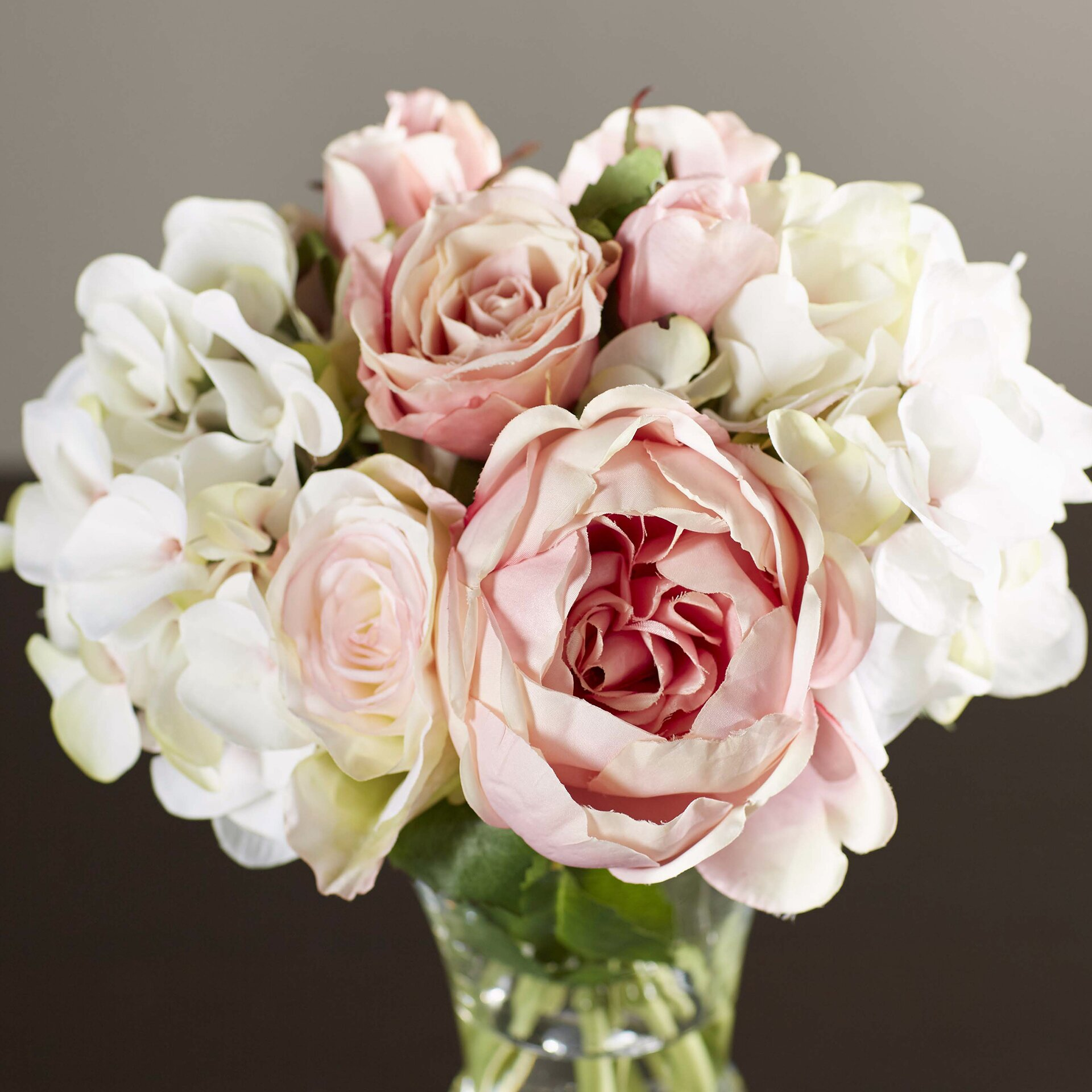 One allium way faux rose and hydrangea bouquet in pedestal