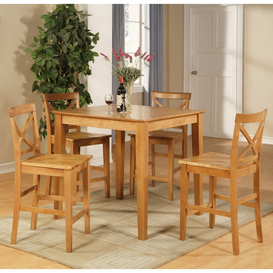 Kitchen Pub Table And Chairs One Allium Way Mathys 5 Piece Counter Height Pub Table Set