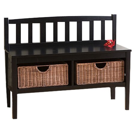 Beachcrest Home Offerman Wood Storage Entryway Bench With Rattan Baskets Reviews