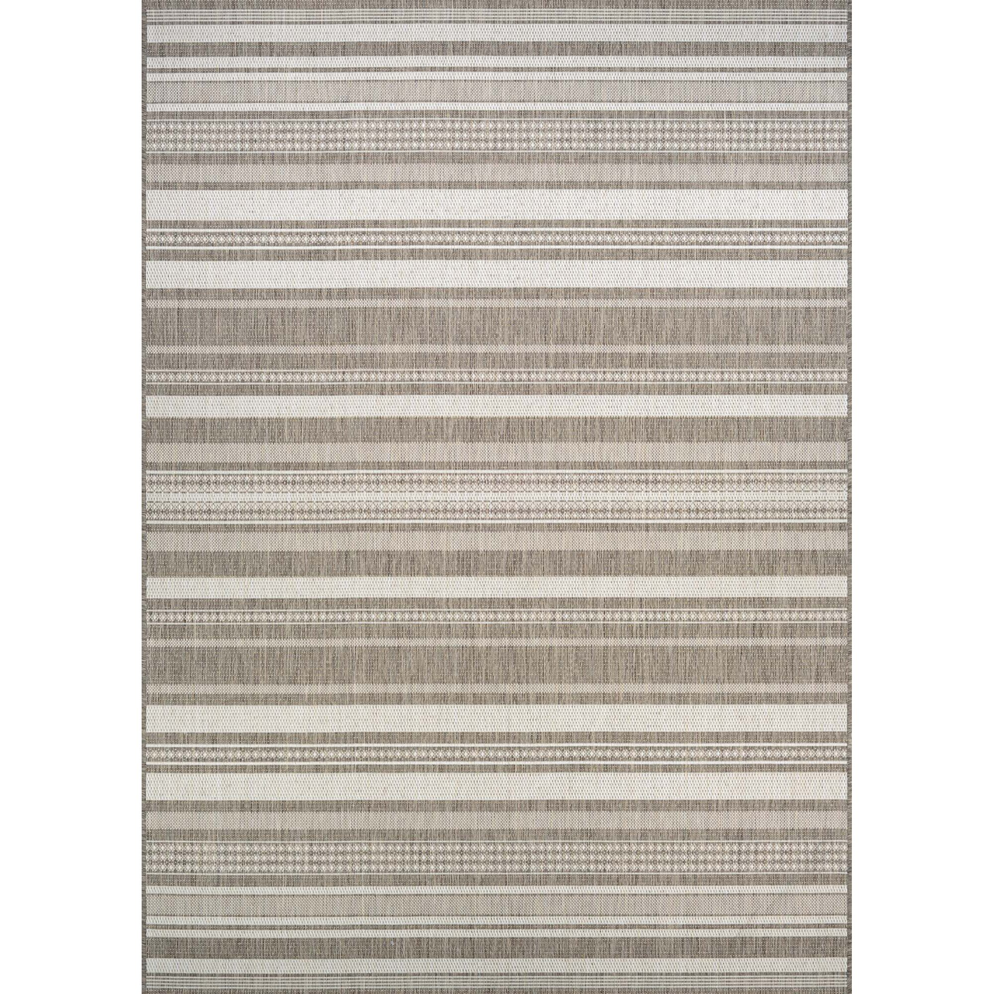 Beachcrest Home Anguila Stripe Grey Beige Indoor Outdoor