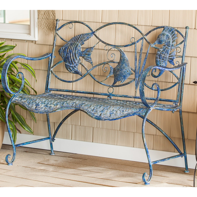 Beachcrest Home Bodalla 3 Light Metal Vanity Light Reviews: Beachcrest Home Darien Blue Fish Metal Garden Bench & Reviews