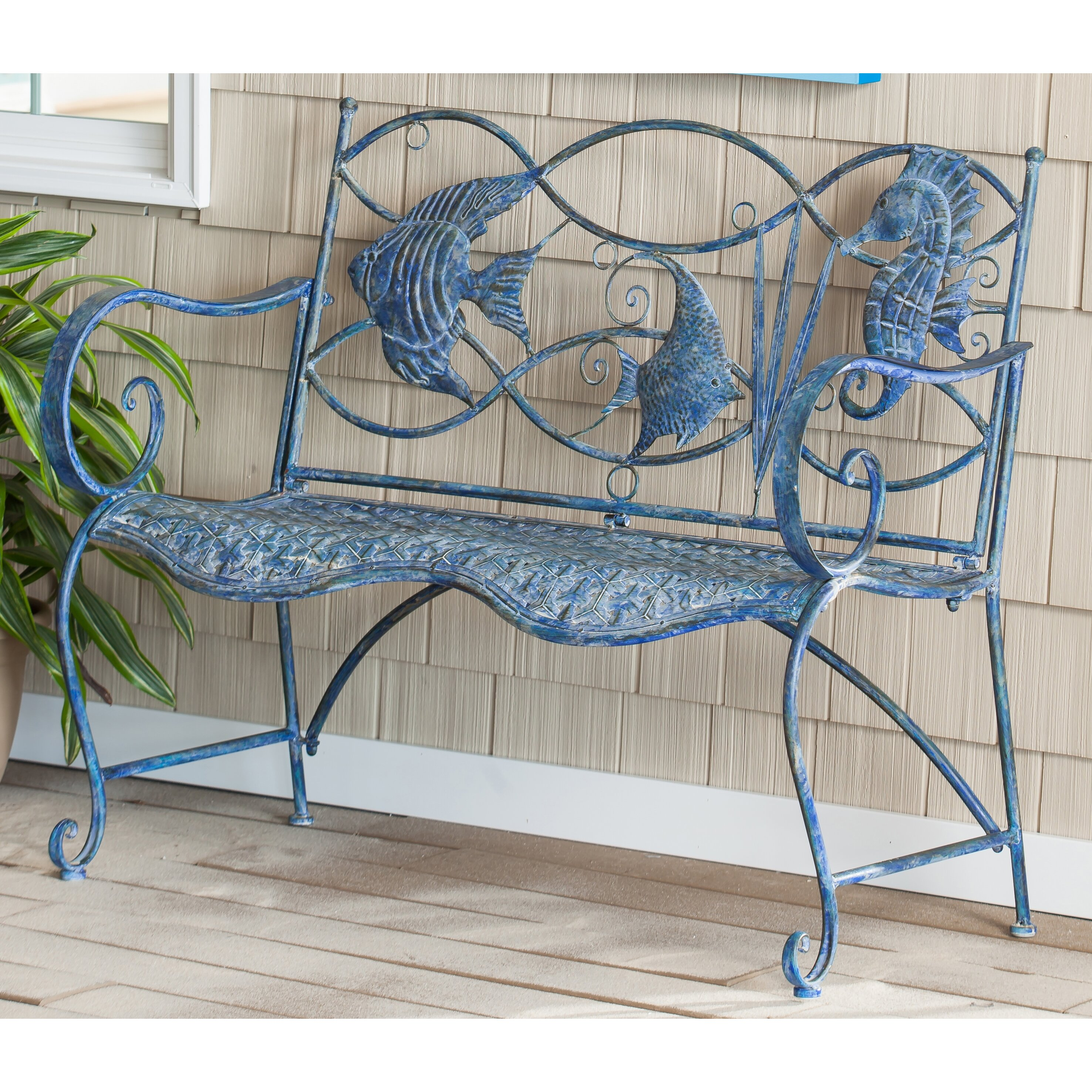 All glass dining room table - Beachcrest Home Darien Blue Fish Metal Garden Bench Amp Reviews