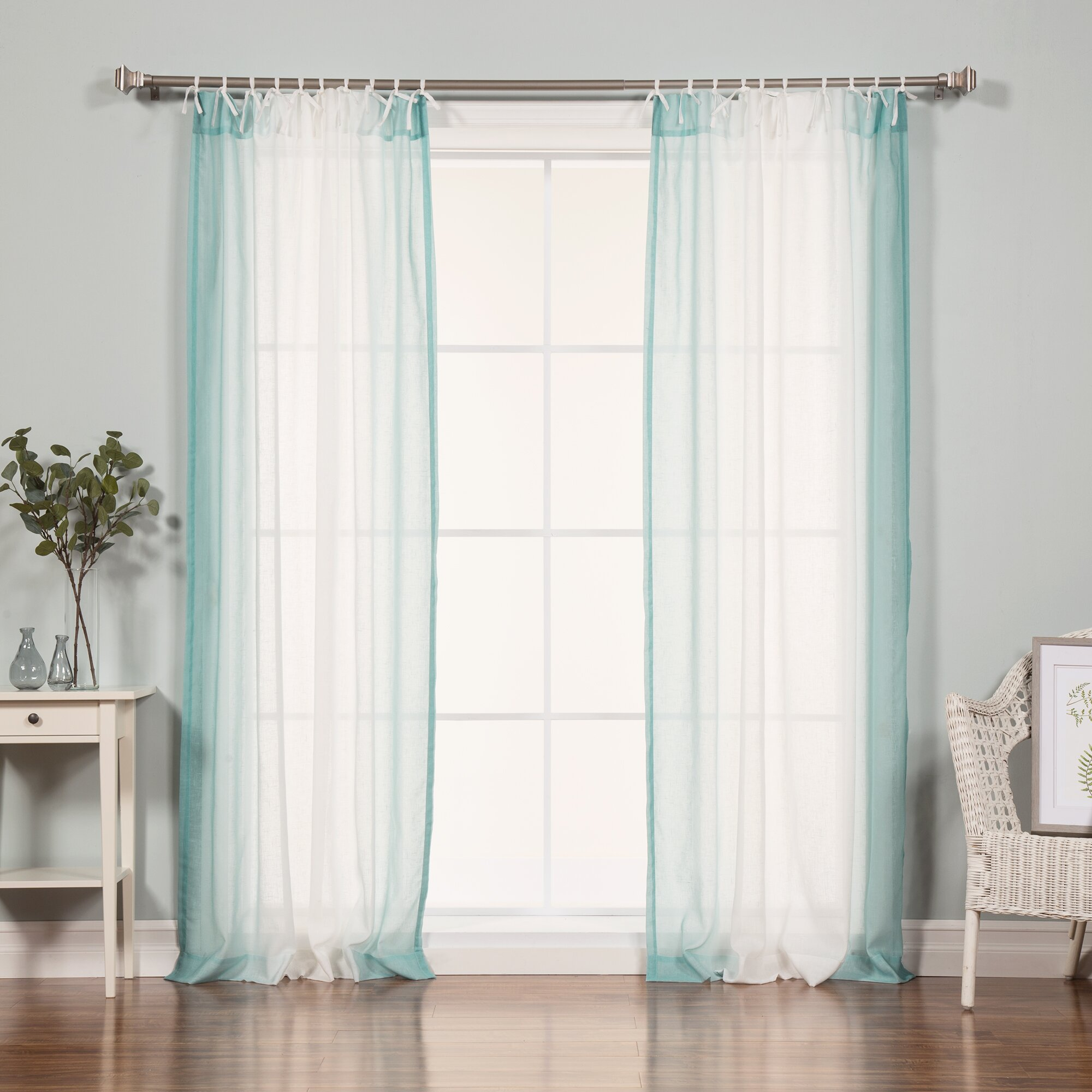 Faux Linen Tie Top Curtains