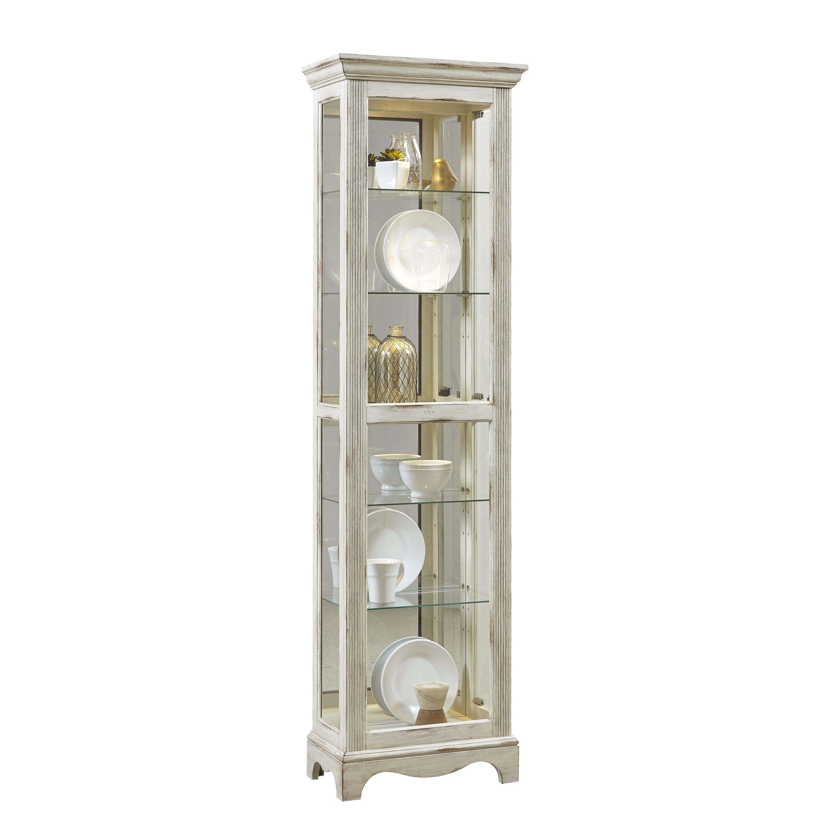Jasper Curio Cabinet Beachcrest Home Davie Weathered Standard Curio Cabinet Wayfair