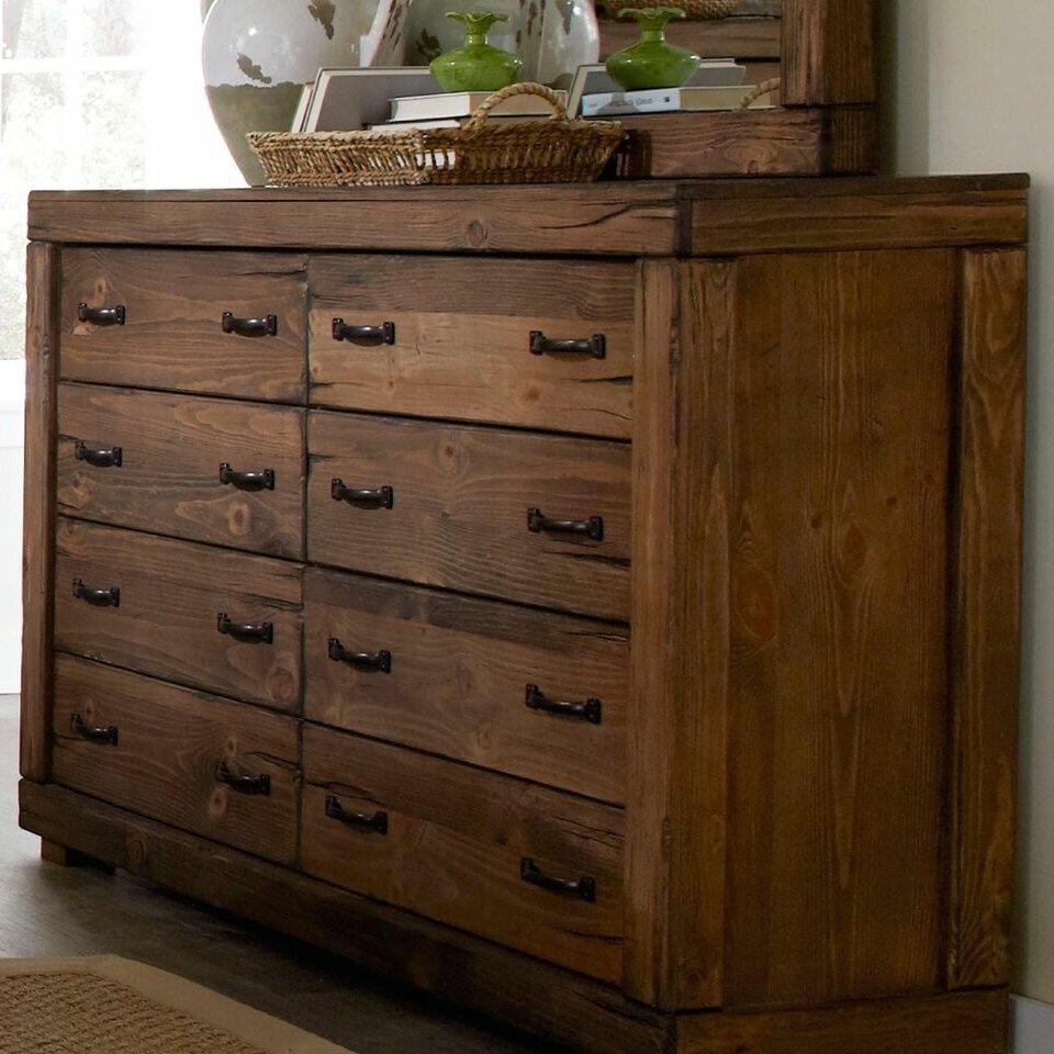 Dresser With Cabinet Loon Peak Hilton 8 Drawer Dresser Reviews Wayfair
