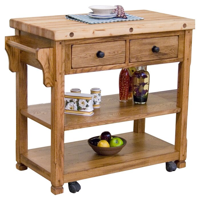 Loon Peak Fresno Kitchen Island With Butcher Block Top & Reviews