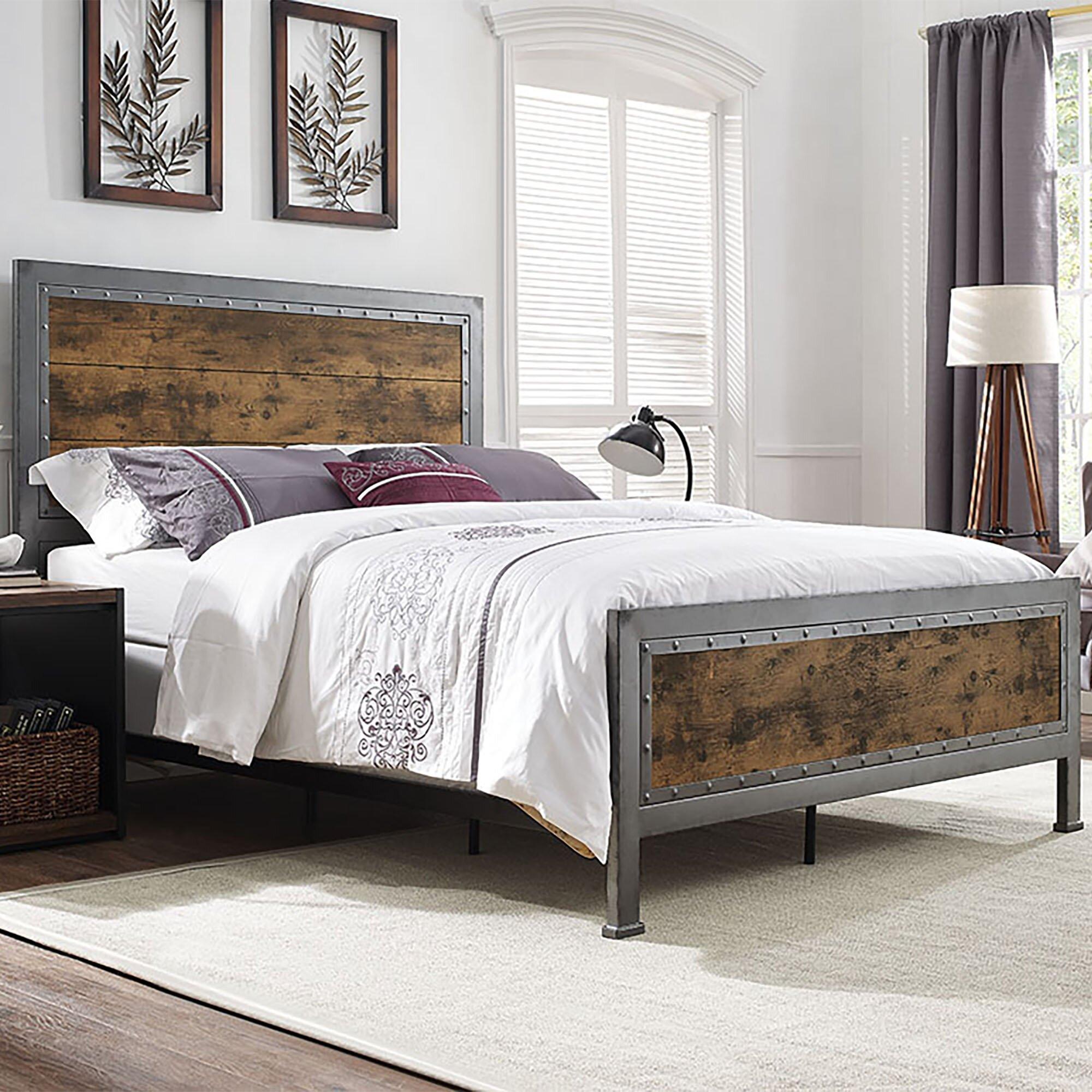 trent austin design tonkawa industrial wood and metal queen bed - Bed Frames Austin