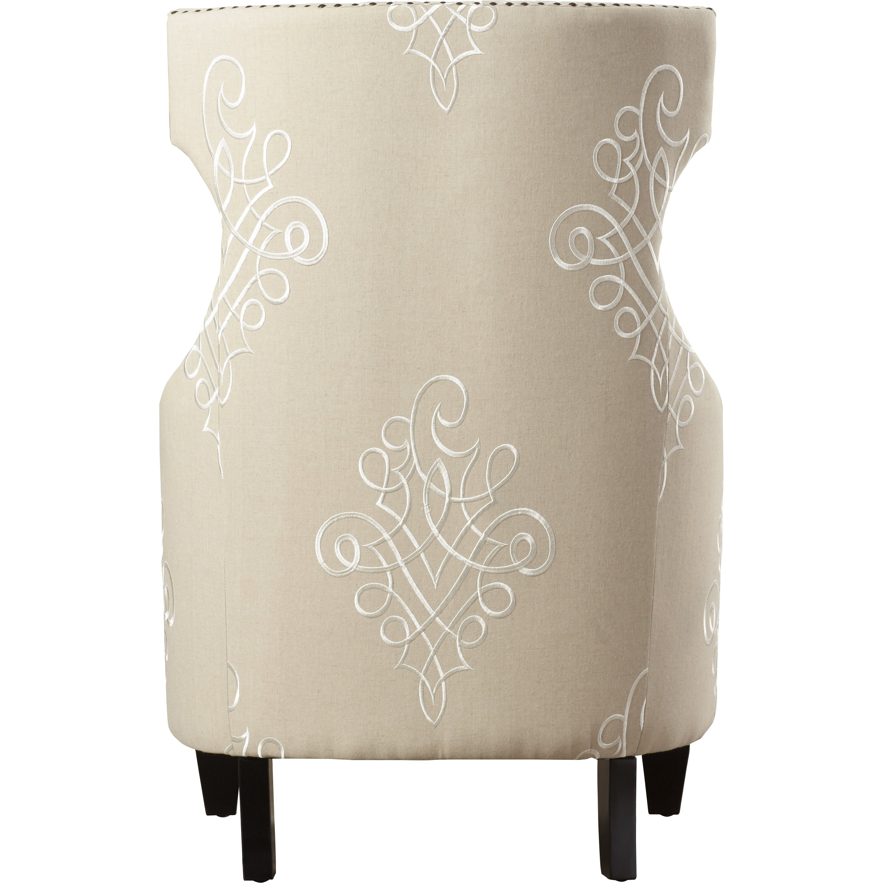 House Of Hampton Gramercy Embroidered Linen Wing Chair