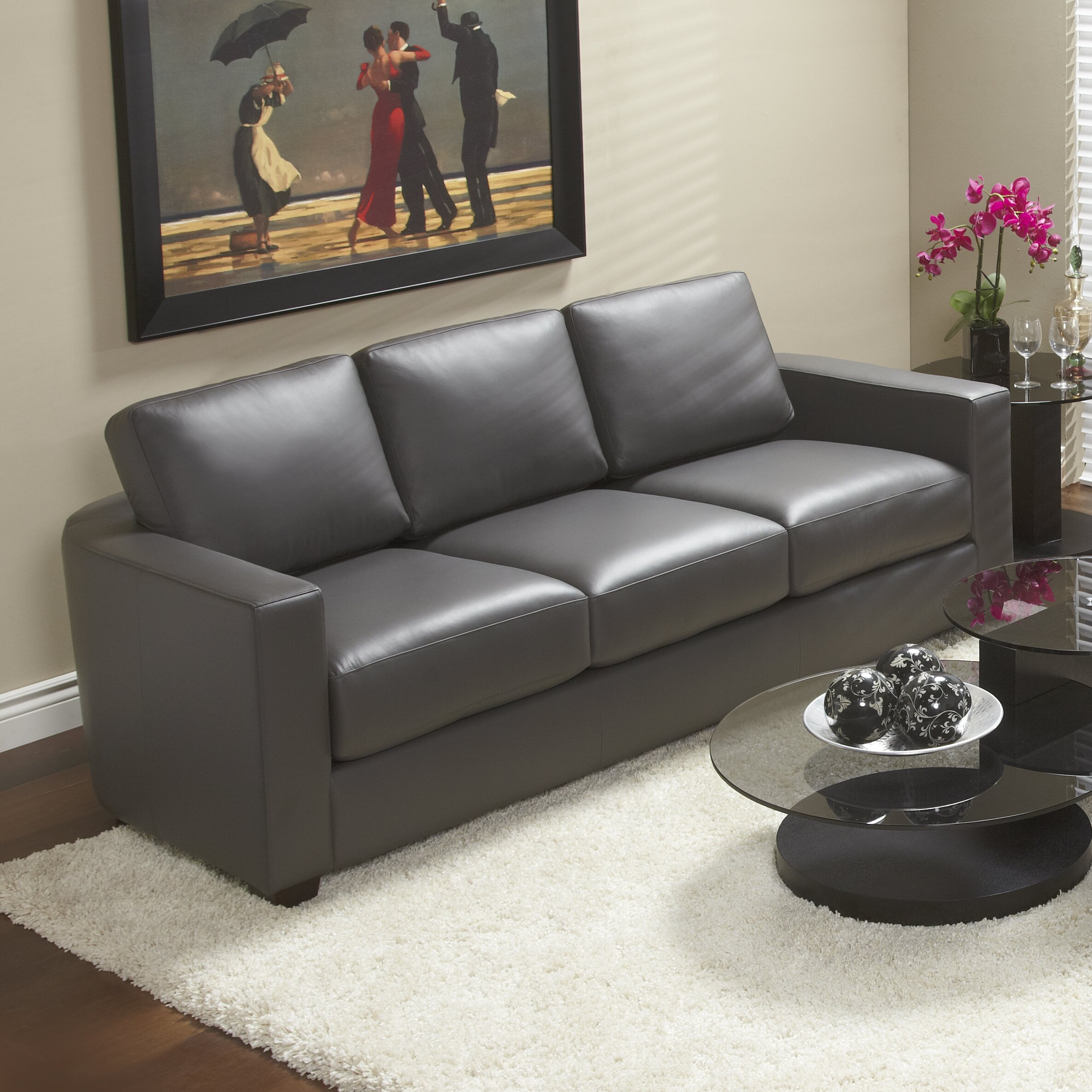 Top Grain Leather Living Room Set Lind Furniture Marquis Top Grain Leather Sofa Wayfair