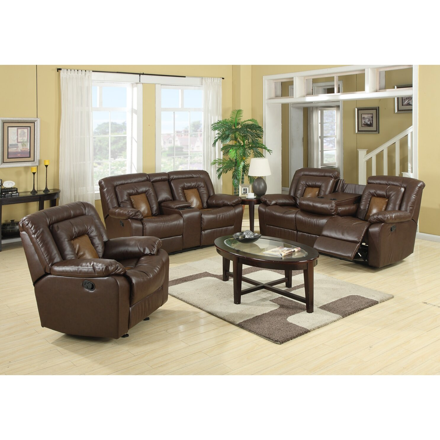 Reclining Living Room Furniture Sets Roundhill Furniture Kmax 2 Piece Reclining Sofa And Loveseat Set
