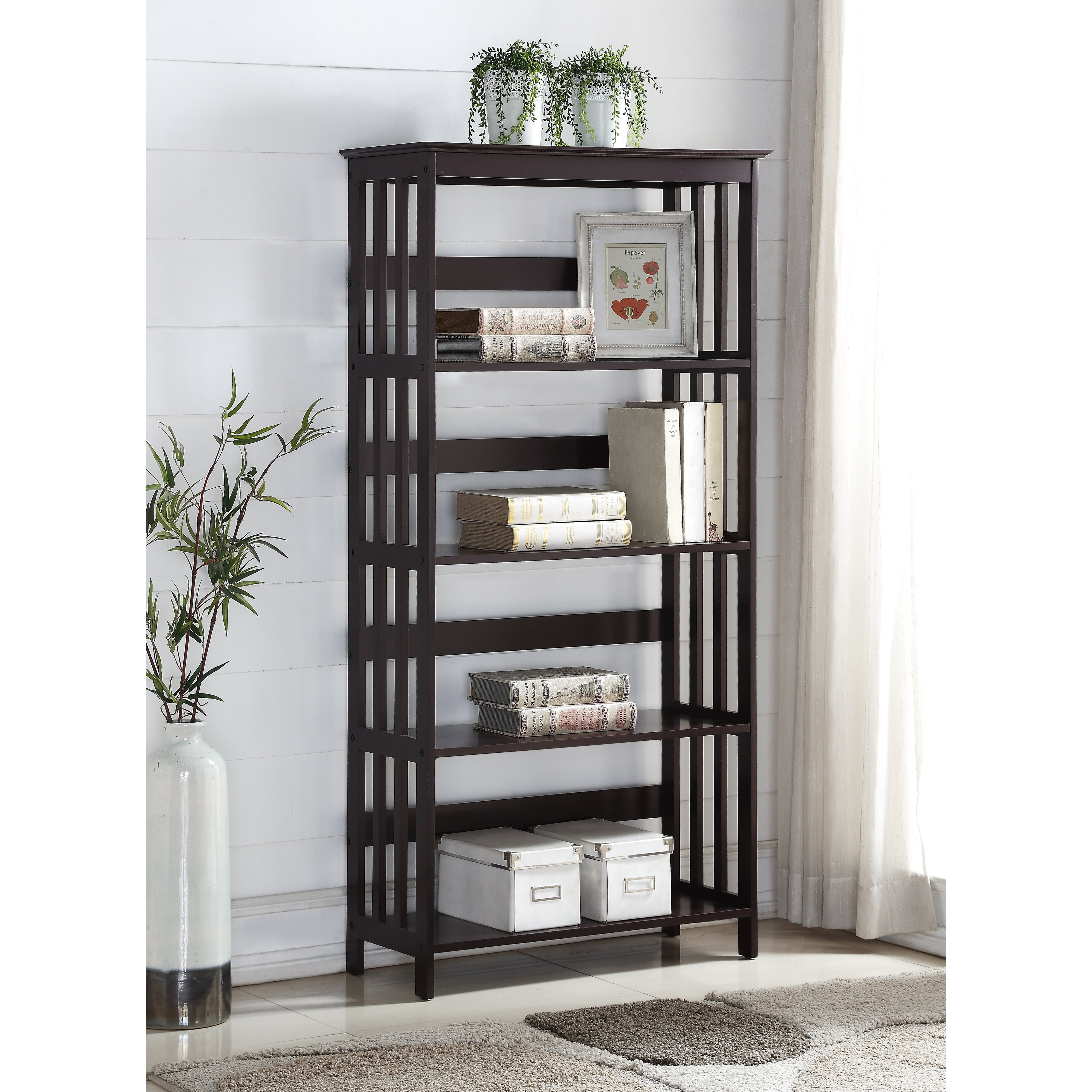 "Roundhill Furniture 60"" Etagere Bookcase & Reviews | Wayfair"
