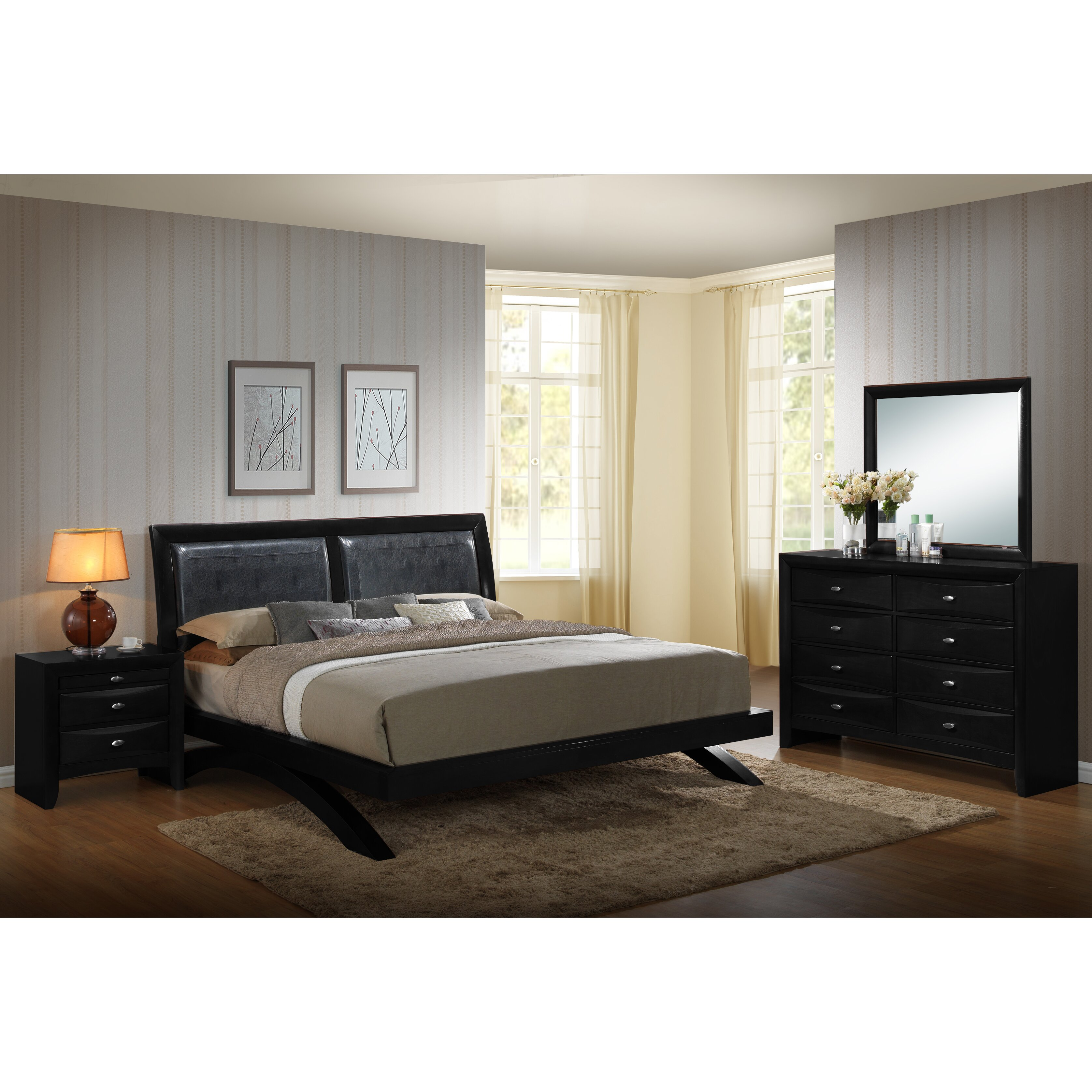 roundhill furniture blemerey 4 piece platform bedroom set