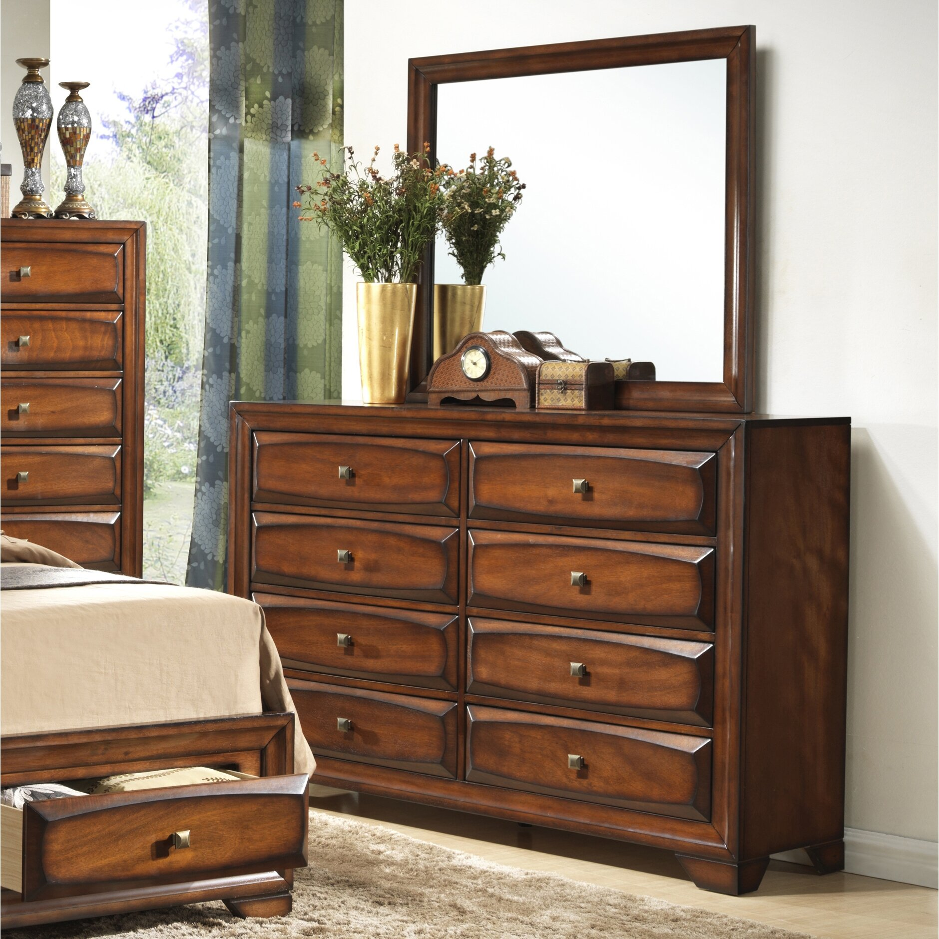 Roundhill Furniture Oakland 6 Drawer Dresser with Mirror