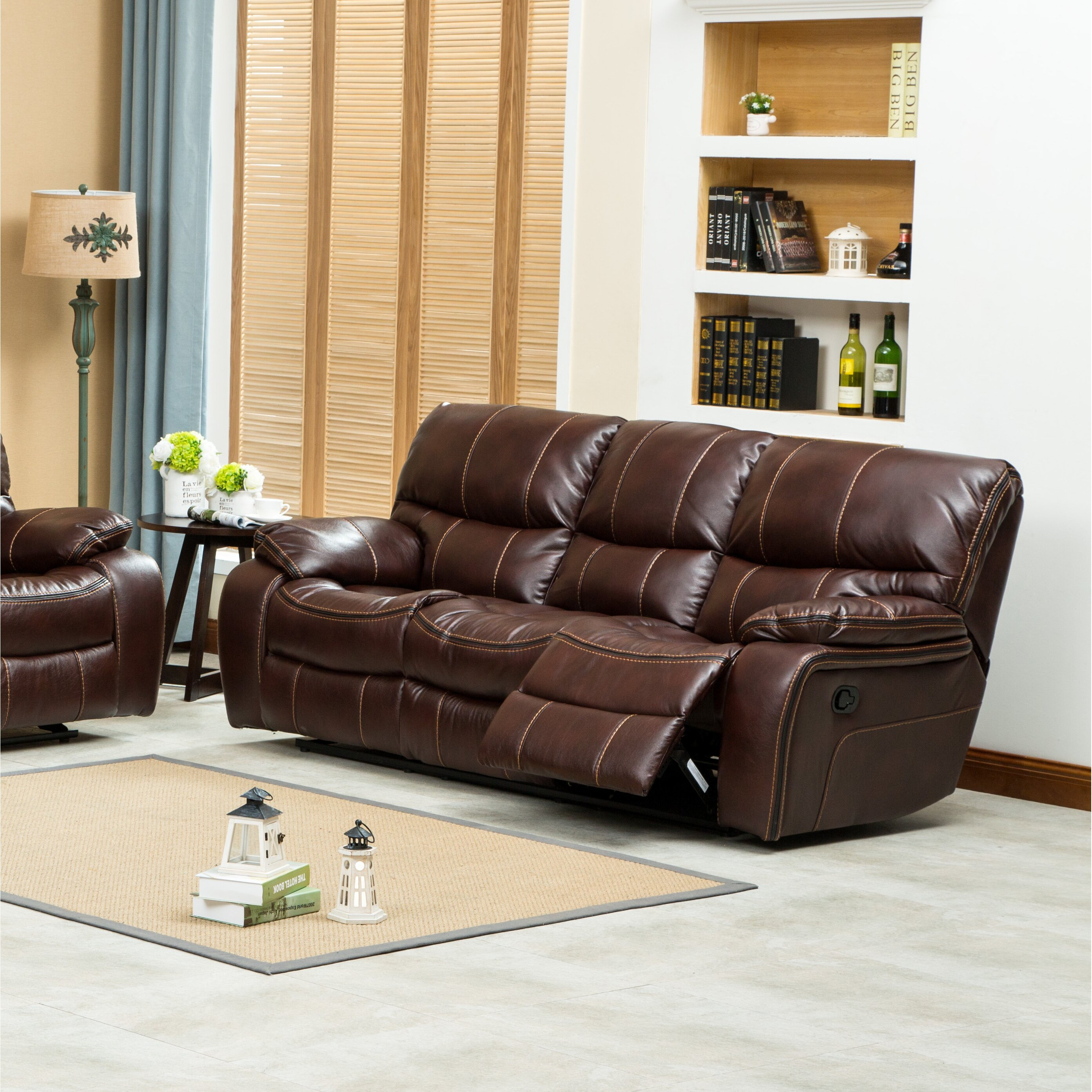 Leather Living Room Sets On Roundhill Furniture Ewa 3 Piece Reclining Leather Living Room Set