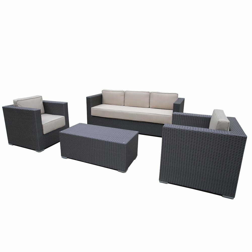 Abba Patio Wicker Patio 4 Piece Deep Seating Group With Cushion