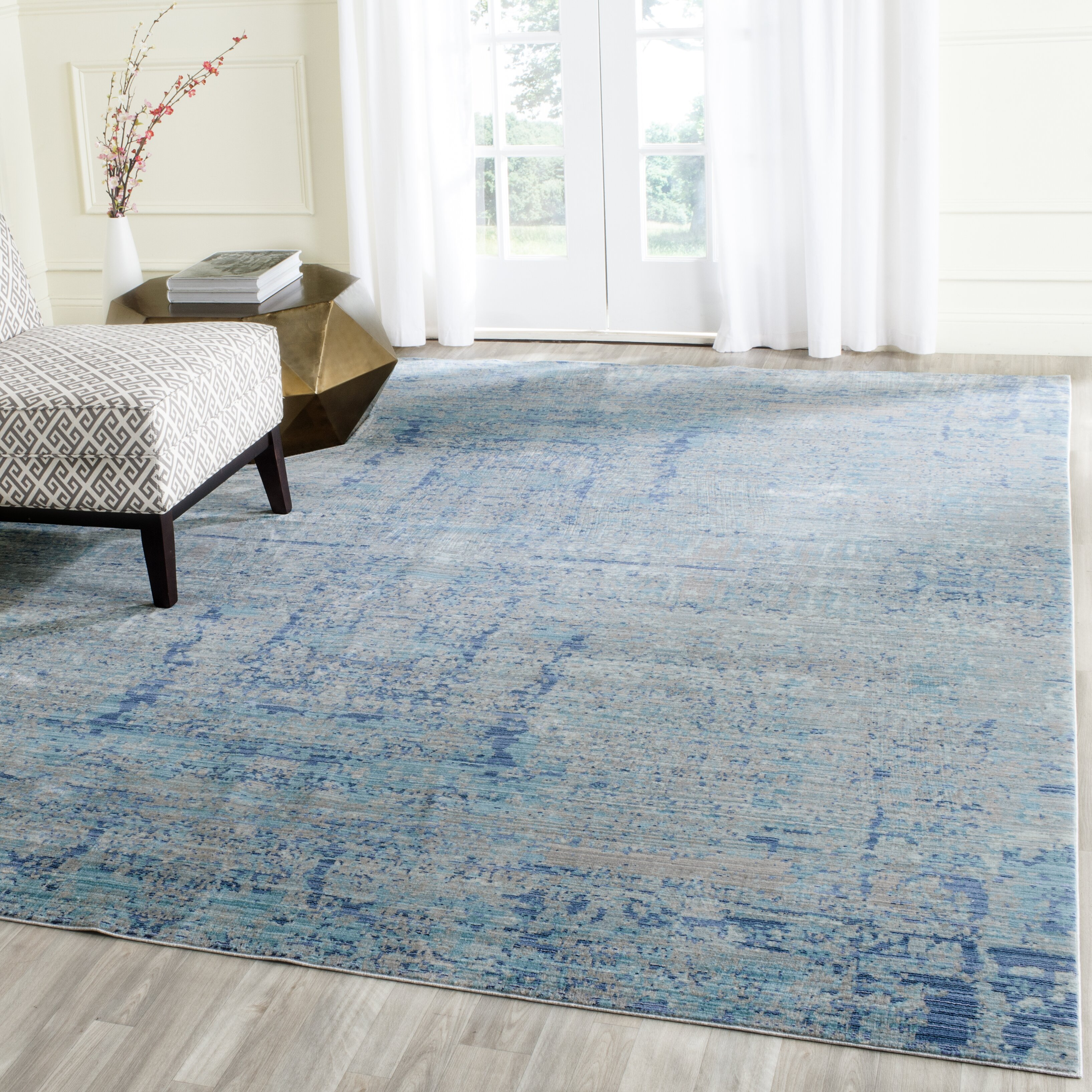 bungalow rose light blue area rug