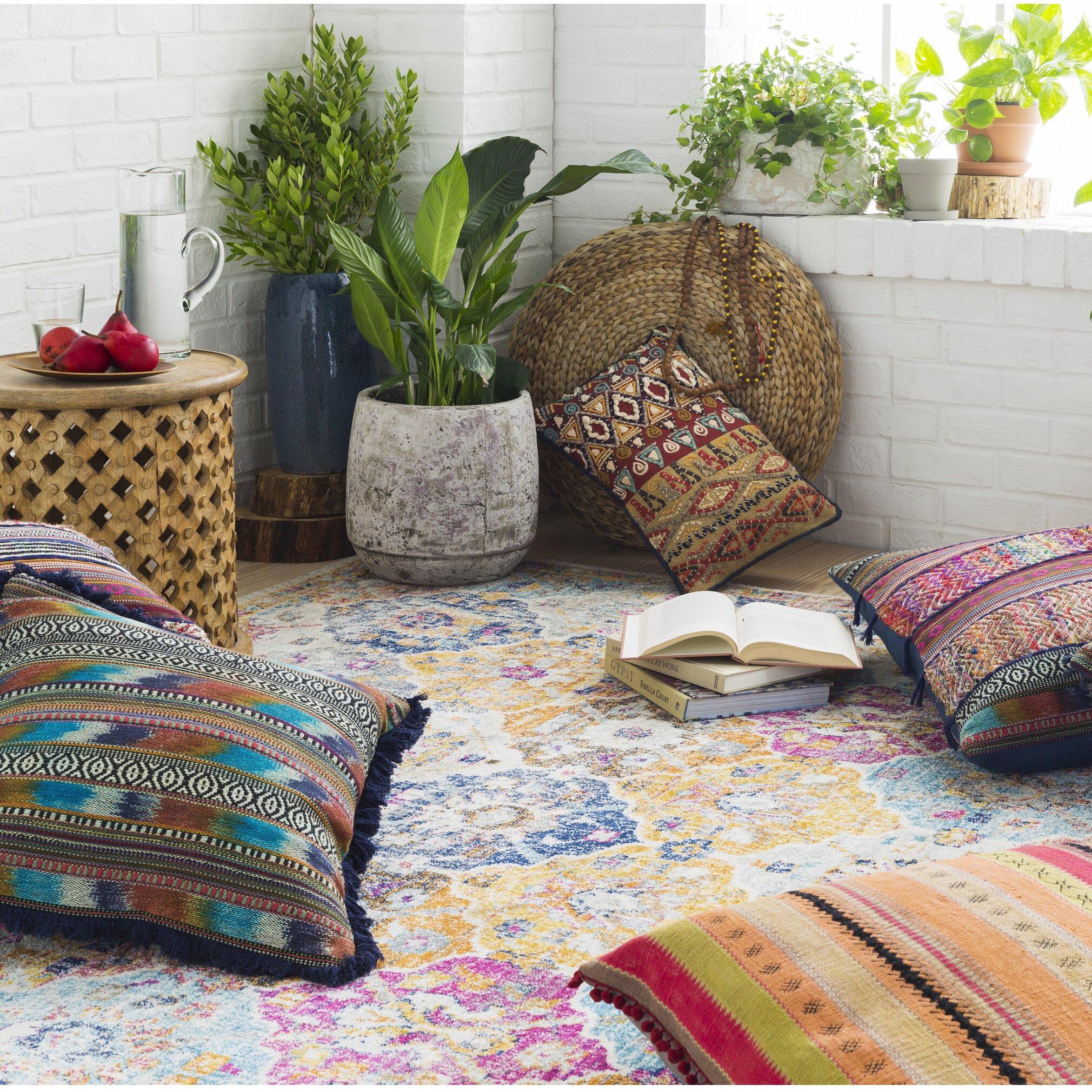 Area rug · bungalow rose andover orangeblue