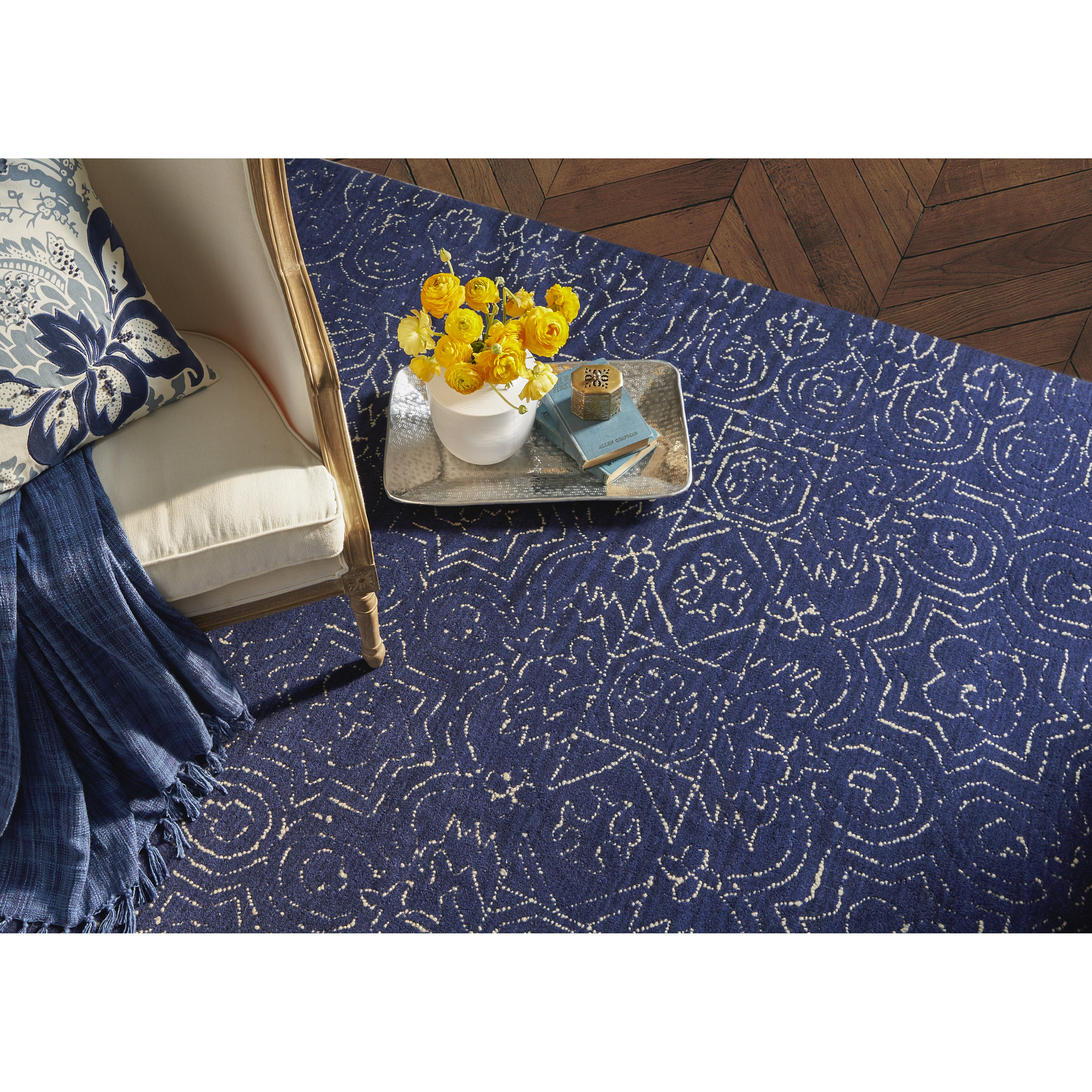 Woolrich Blue And White Floral Rug: Jessie Blue Floral Wool Hand-Tufted Area Rug & Reviews