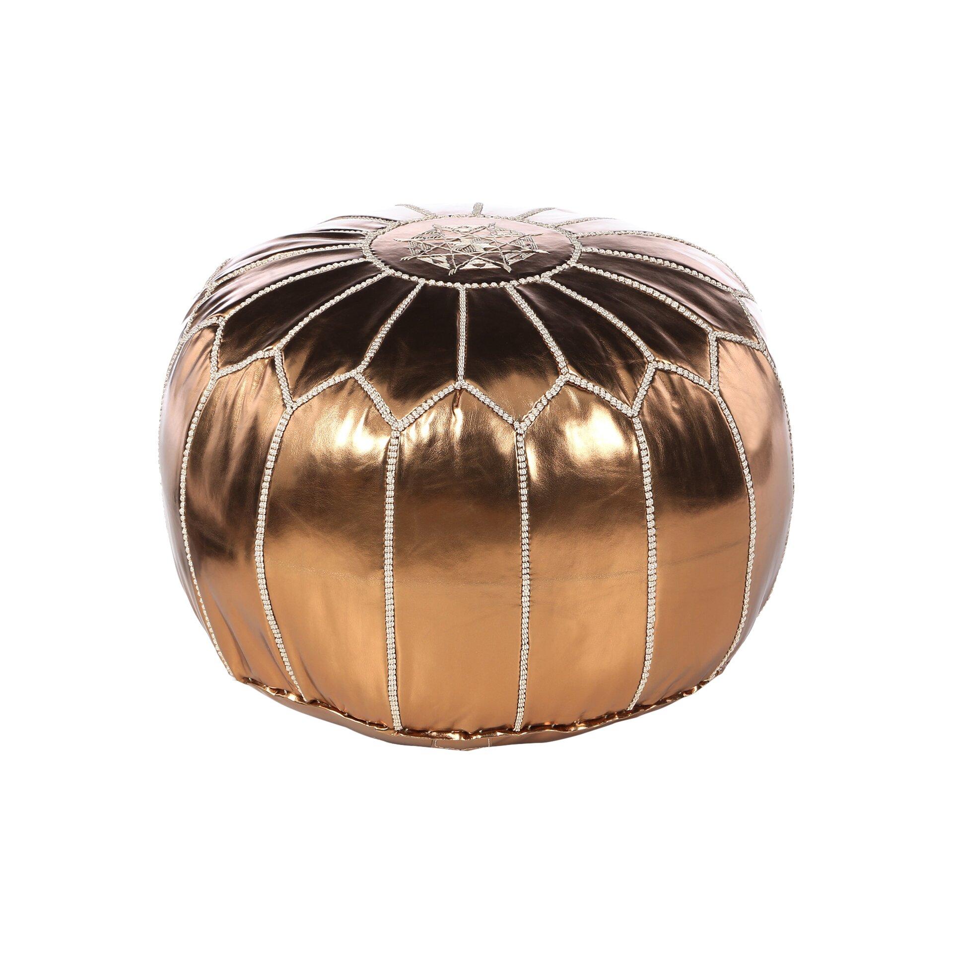 mouassine metallic pouf ottoman reviews allmodern. Black Bedroom Furniture Sets. Home Design Ideas