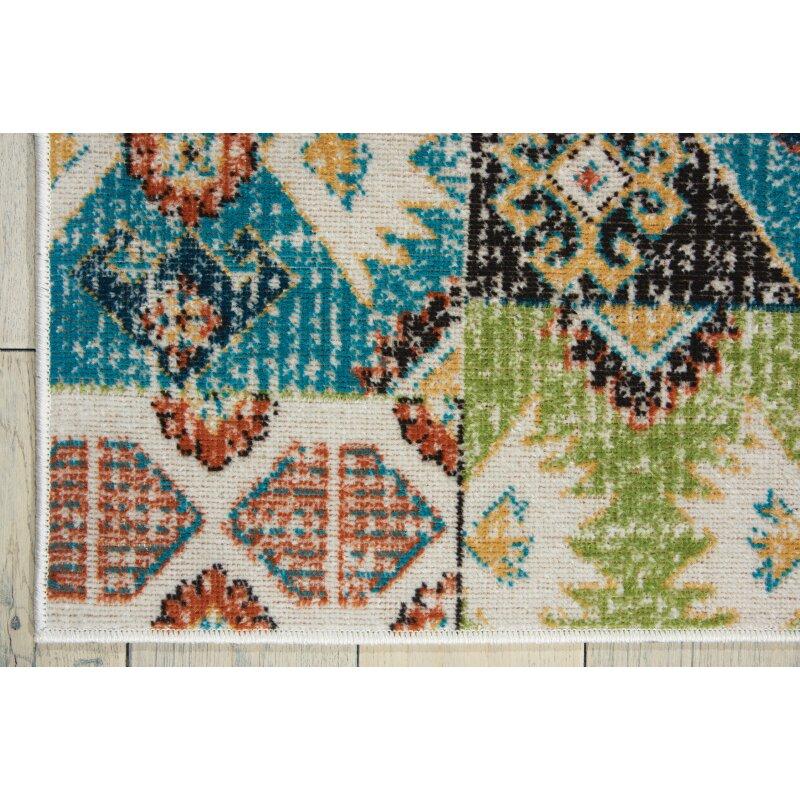 Bungalow Rose Star Green/Blue/Orange Area Rug & Reviews