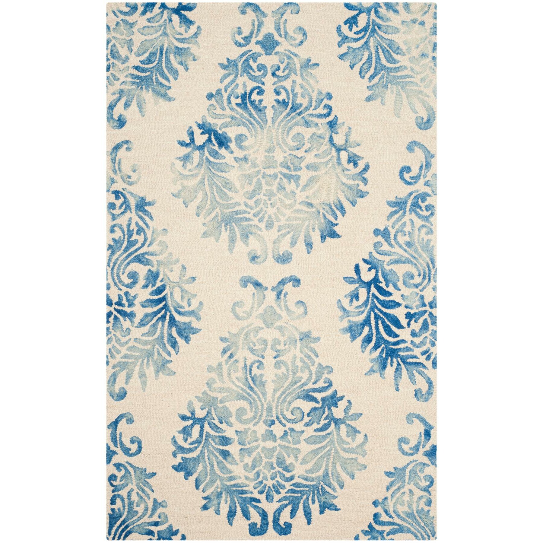 Woolrich Blue And White Floral Rug: Louisa Beige/Blue Floral Wool Hand-Tufted Area Rug