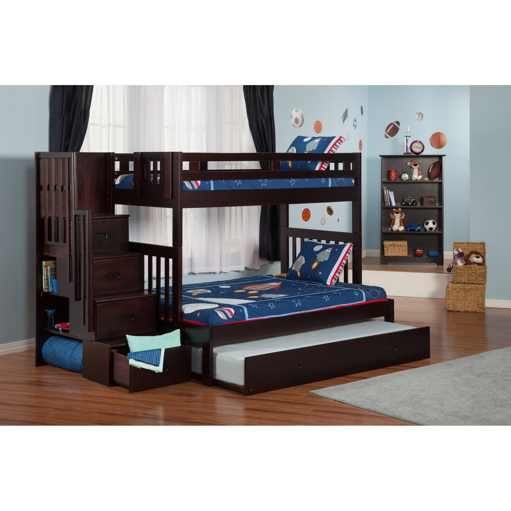 viv rae edwardo twin over full bunk bed with staircase and trundle reviews wayfair. Black Bedroom Furniture Sets. Home Design Ideas