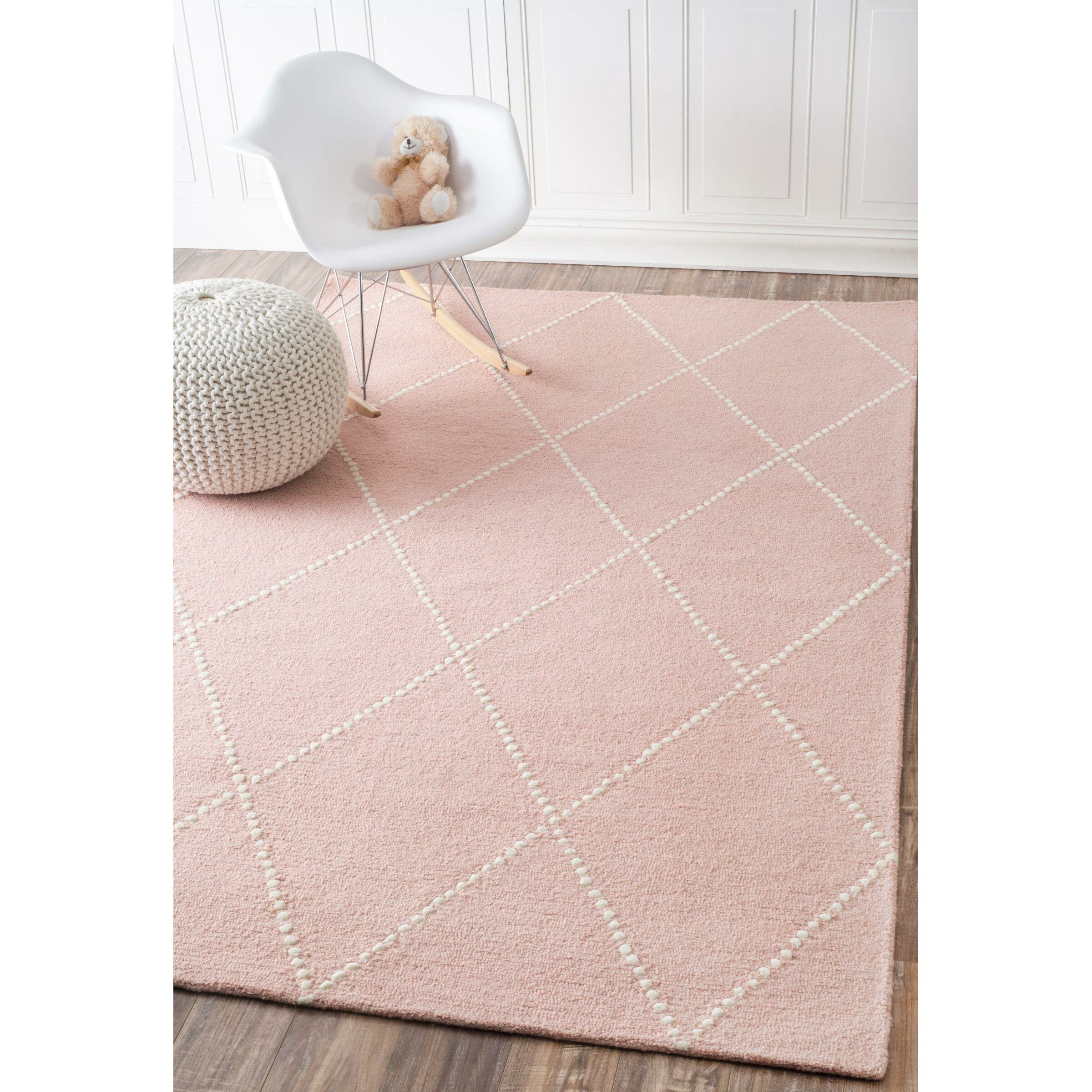 Baby Pink Bathroom Rugs: Viv + Rae Nat Diamond Hand-Tufted Baby Pink Area Rug