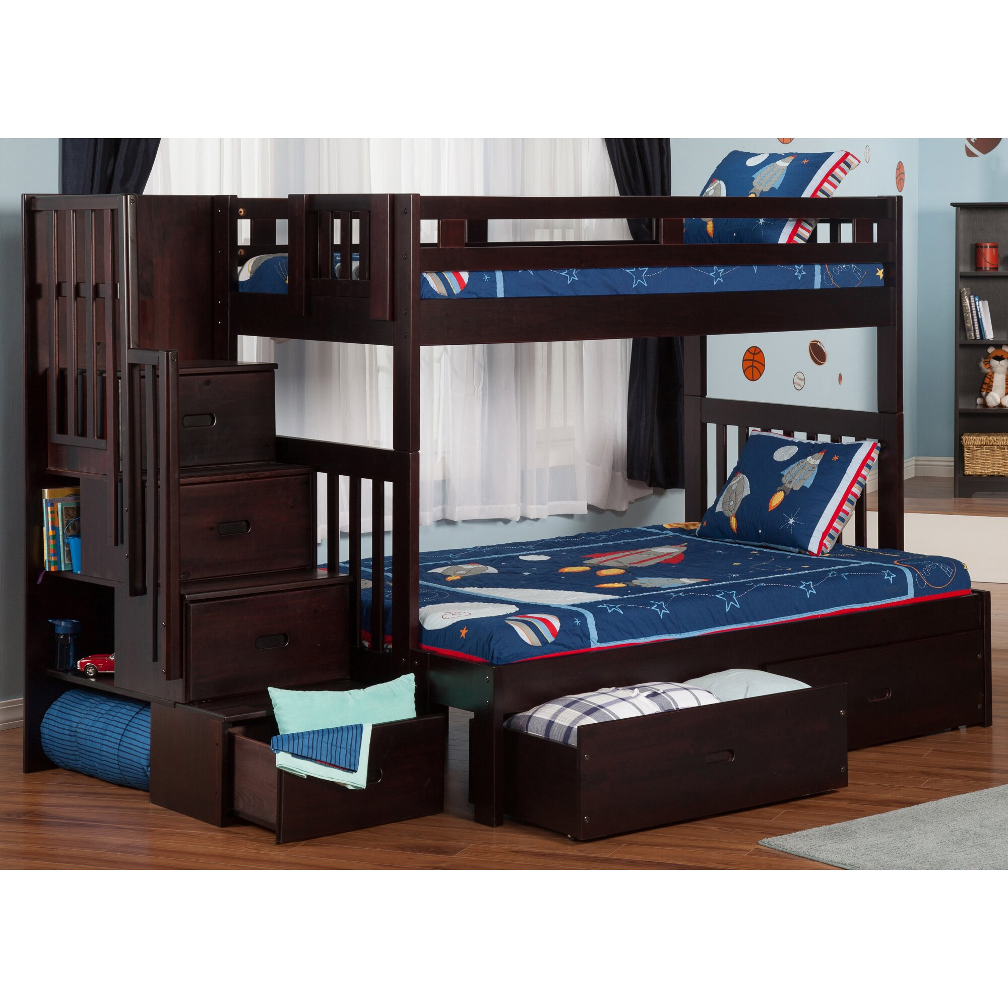 Pine bunk beds with storage - Twin Over Full Bunk Bed With Staircase And Storage