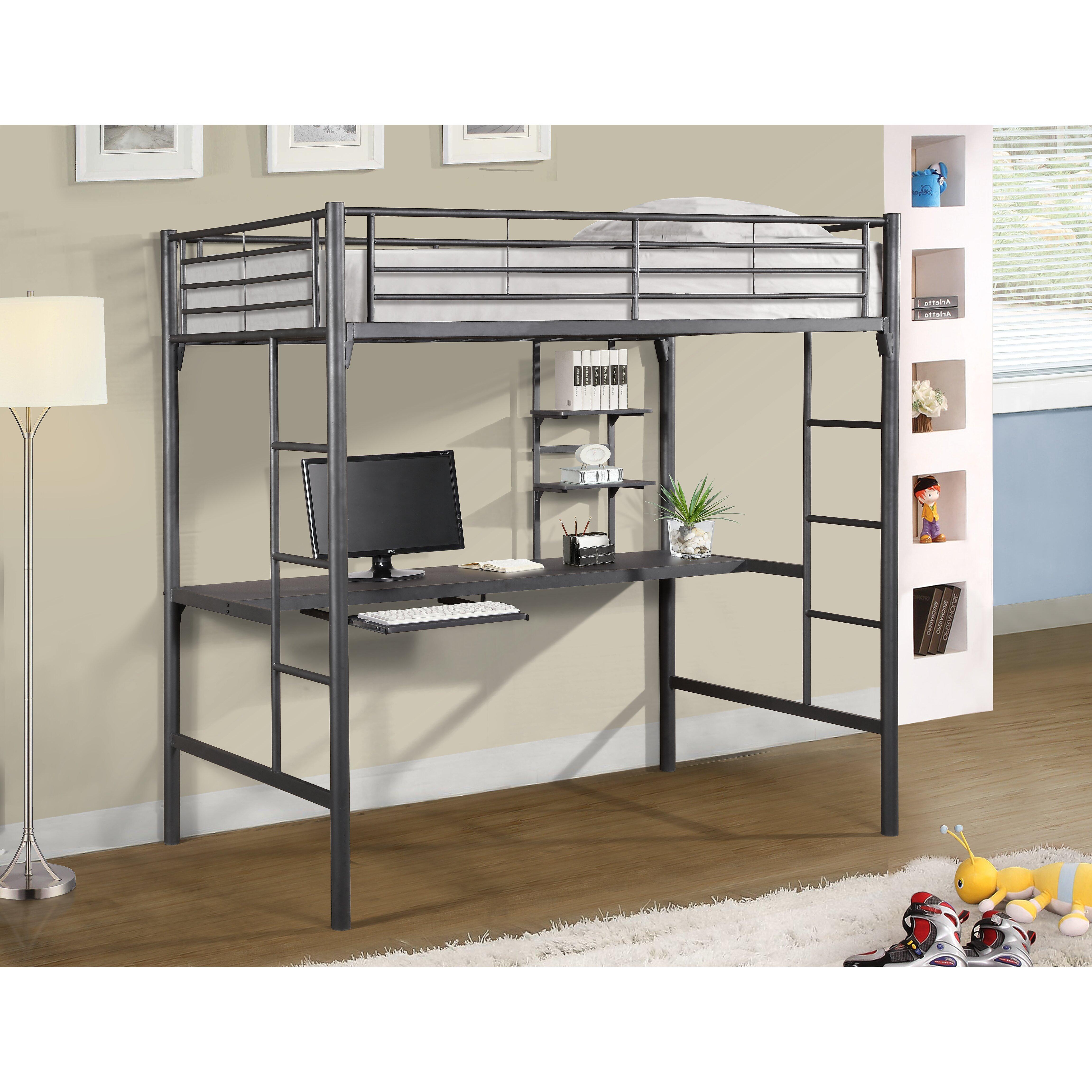 Metal Twin Loft Bed With Desk Hostgarcia