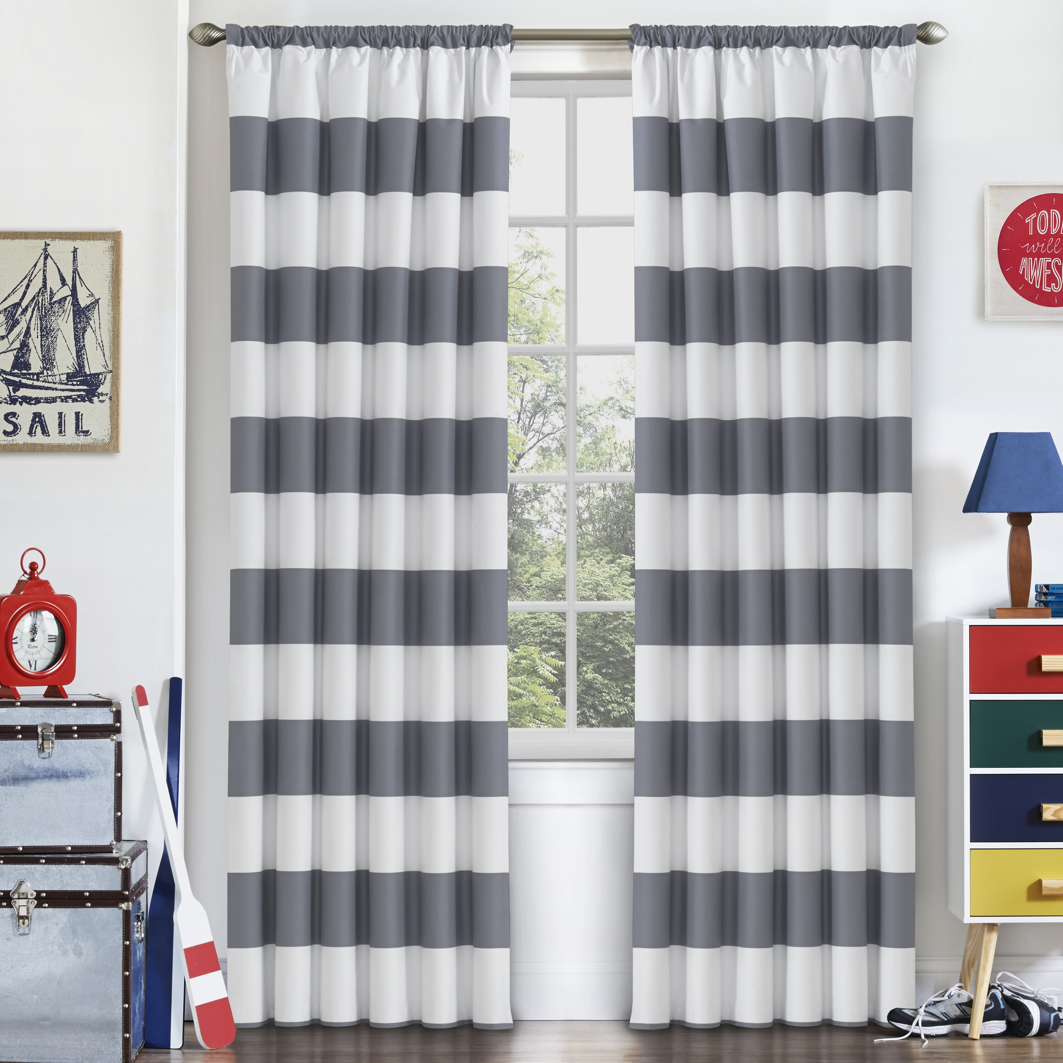 Jameson panel crib for sale - Viv Rae Trade Jameson Curtain Striped Blackout Thermal Single Panel
