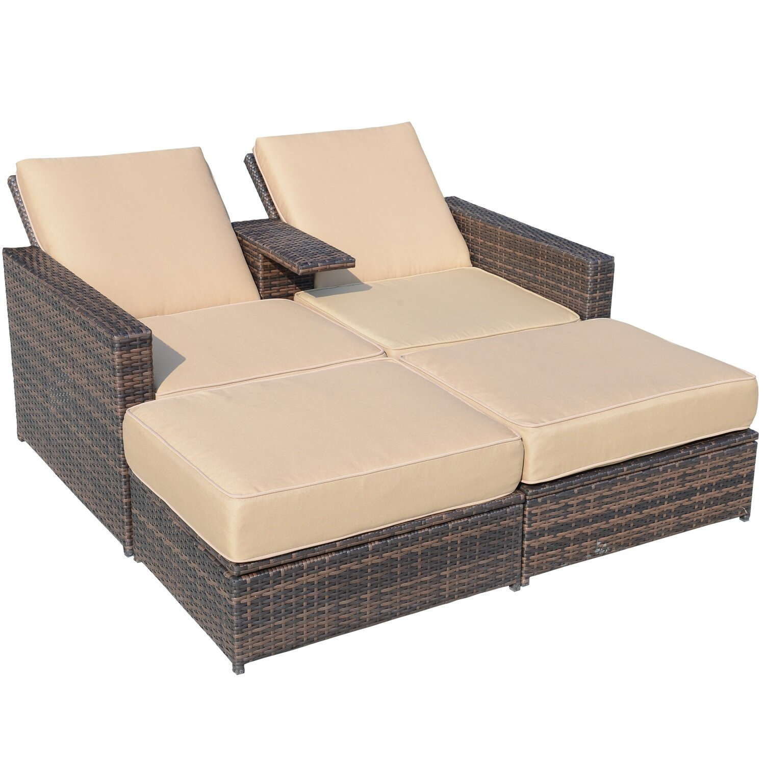 4 Piece Double Chaise Lounge with Cushion - Outdoor Lounge Chairs You'll Love Wayfair