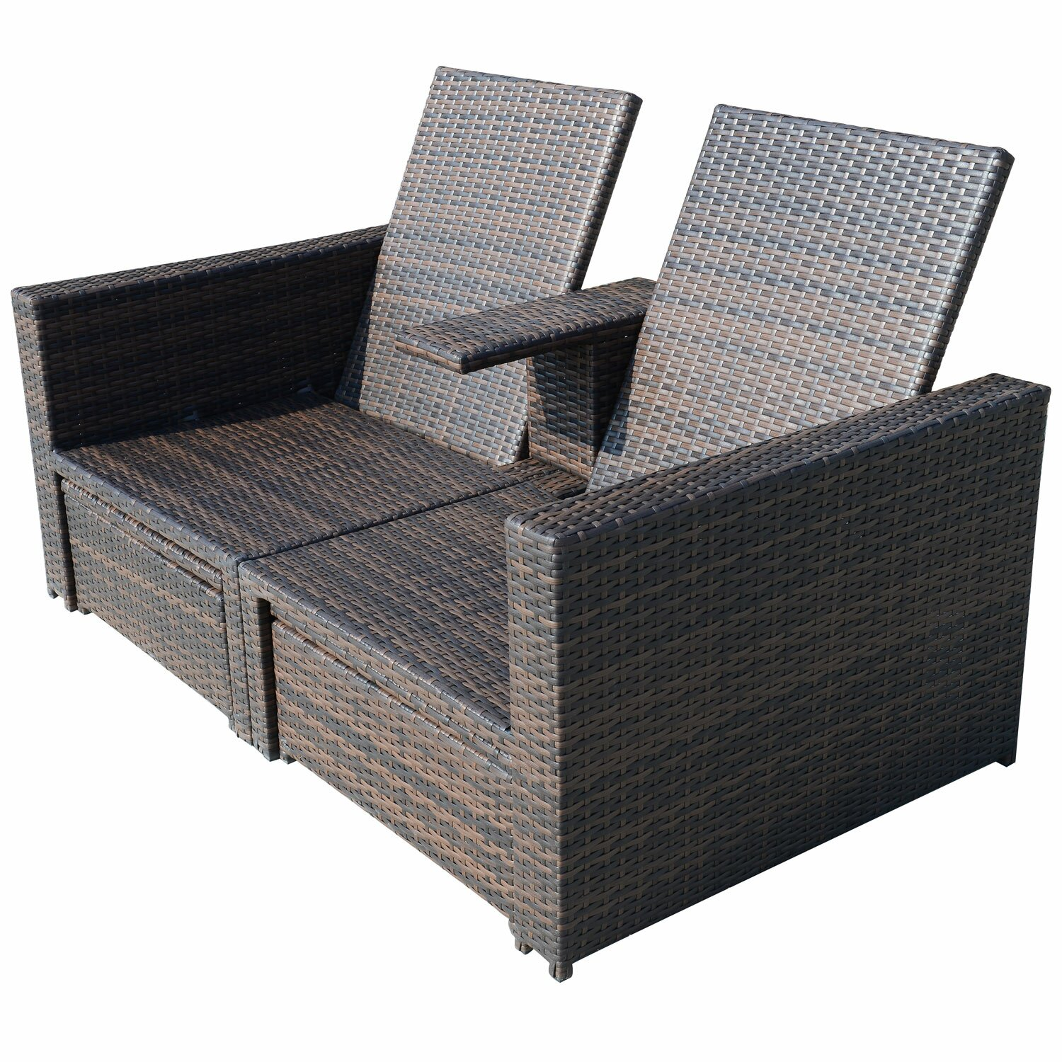 Outsunny 4 Piece Double Chaise Lounge With Cushion